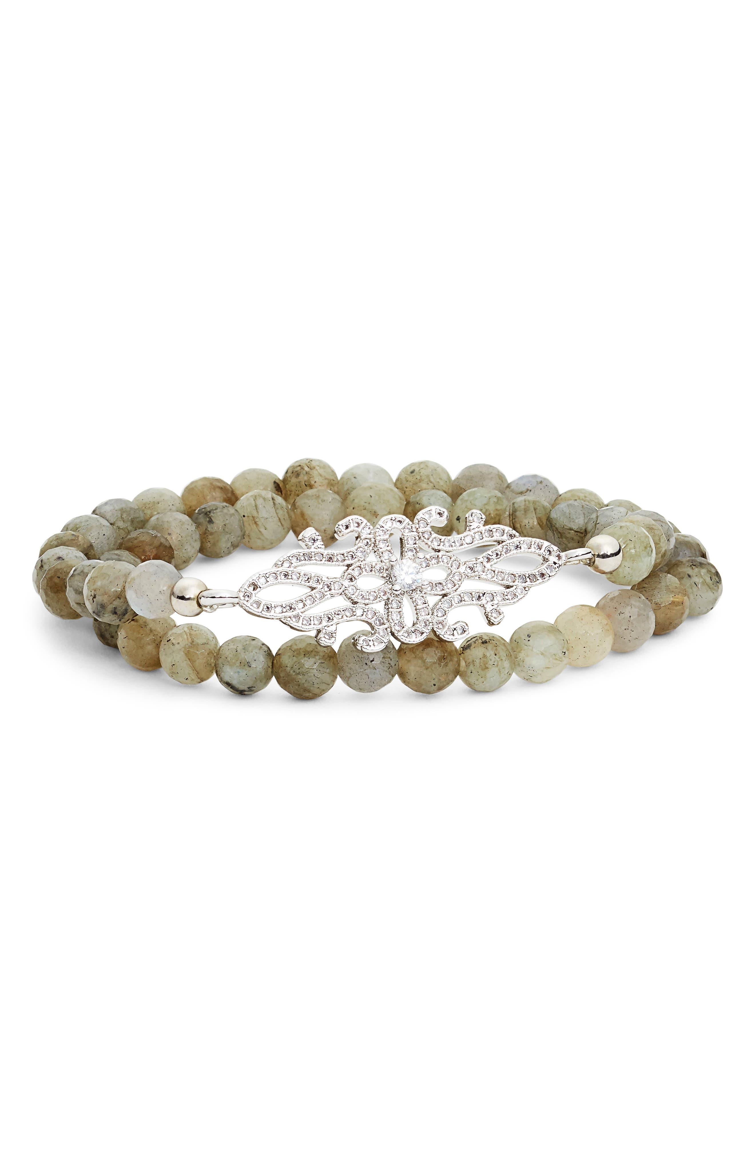 Pavé Accent & Stone Double Wrap Bracelet,                         Main,                         color, 021
