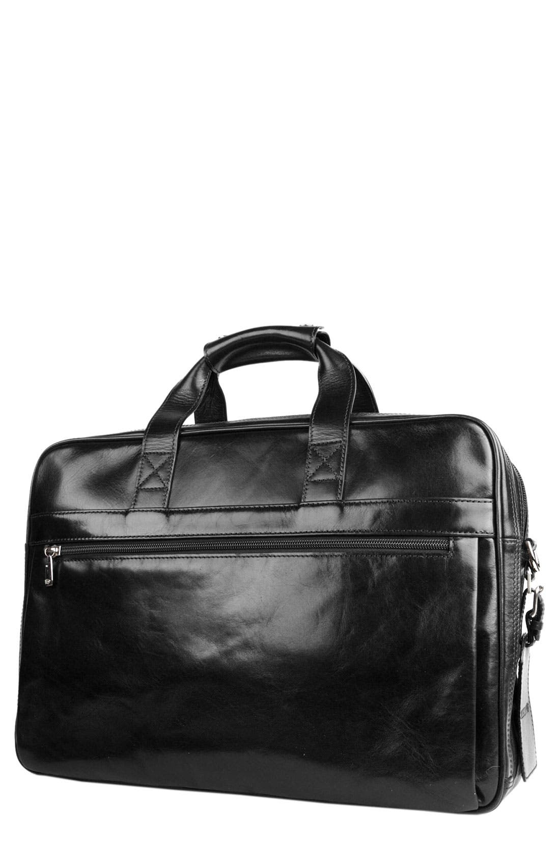 Double Compartment Leather Briefcase,                         Main,                         color, BLACK