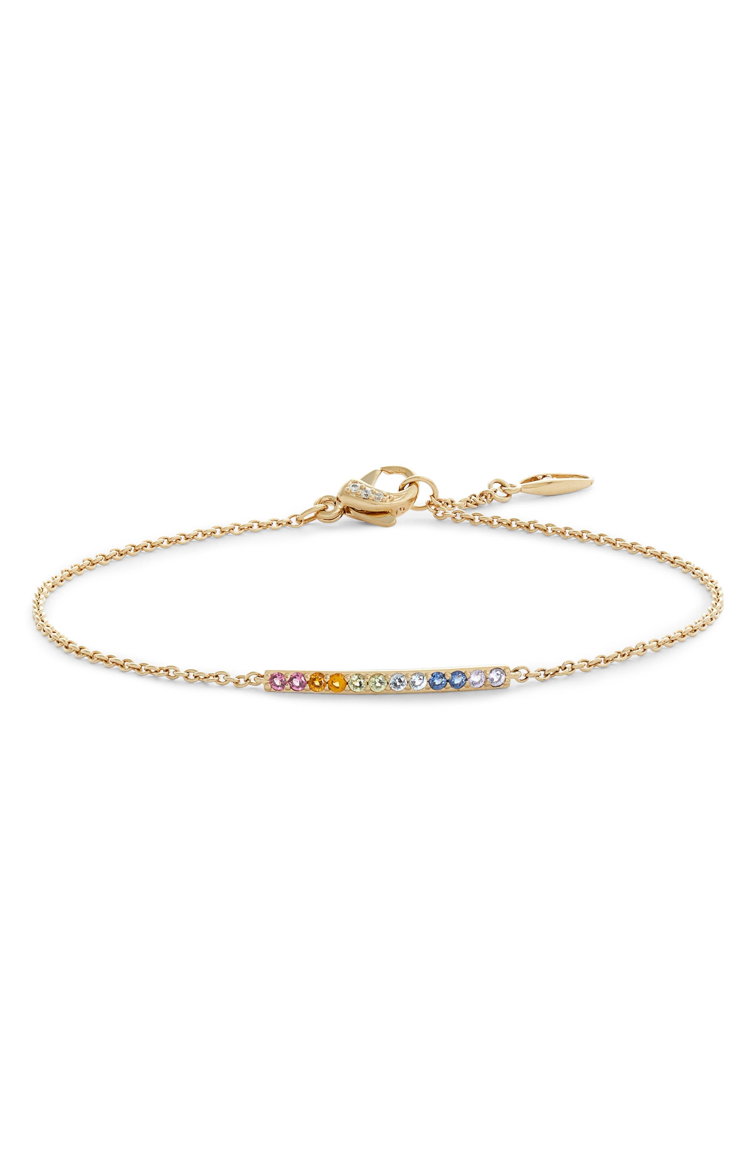 Rainbow Bar Chain Bracelet,                             Main thumbnail 1, color,                             RAINBOW