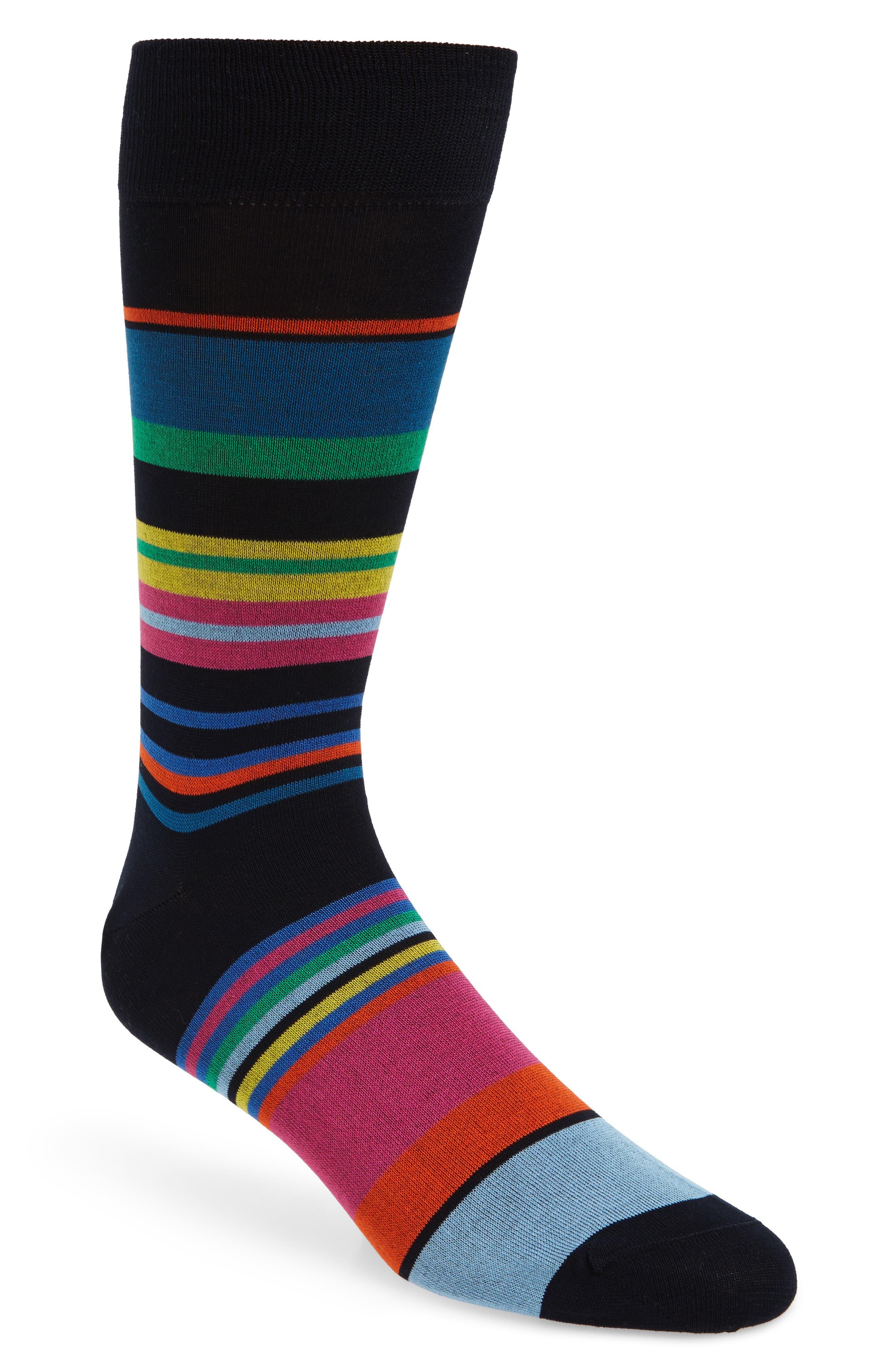 Stripe Mercerized Cotton Blend Socks,                             Main thumbnail 2, color,