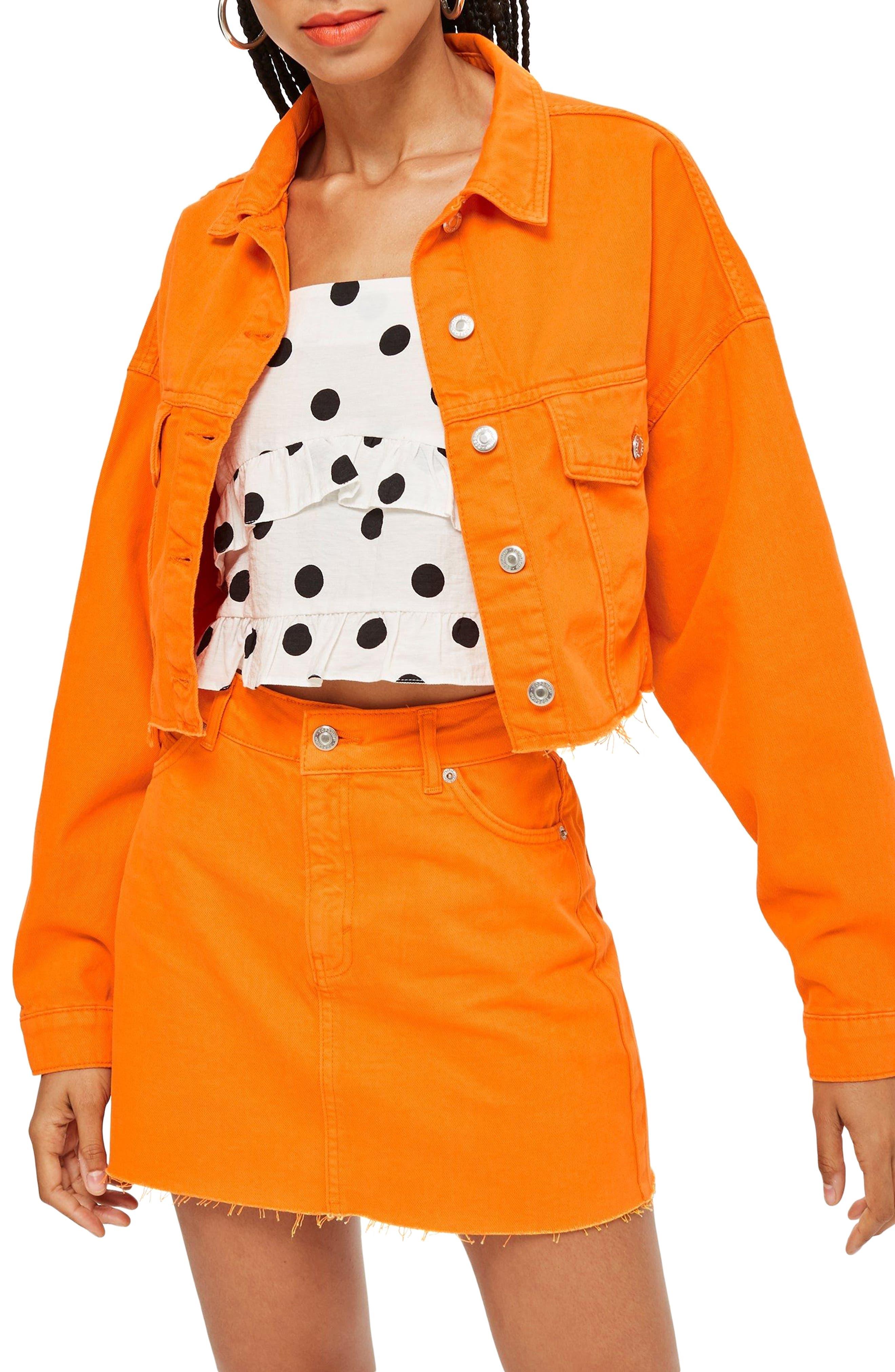 MOTO Hacked Crop Denim Jacket,                         Main,                         color, 800
