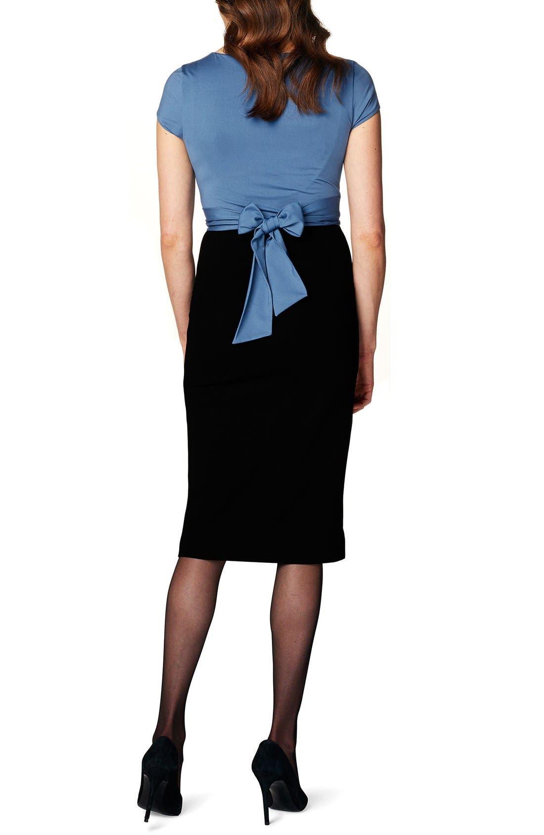 'Tara' Surplice Maternity Dress,                             Alternate thumbnail 2, color,                             BLACK