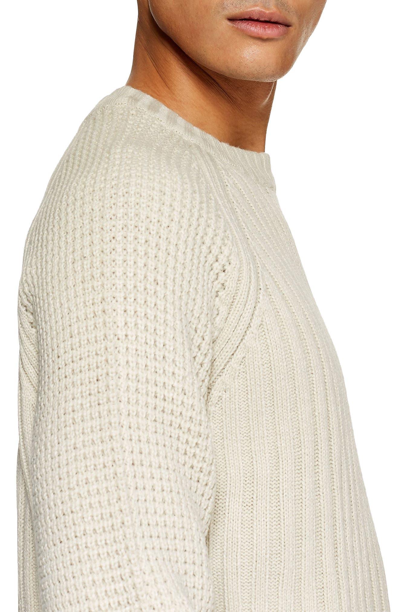 Mixed Stitch Classic Crewneck Sweater,                             Alternate thumbnail 3, color,                             STONE