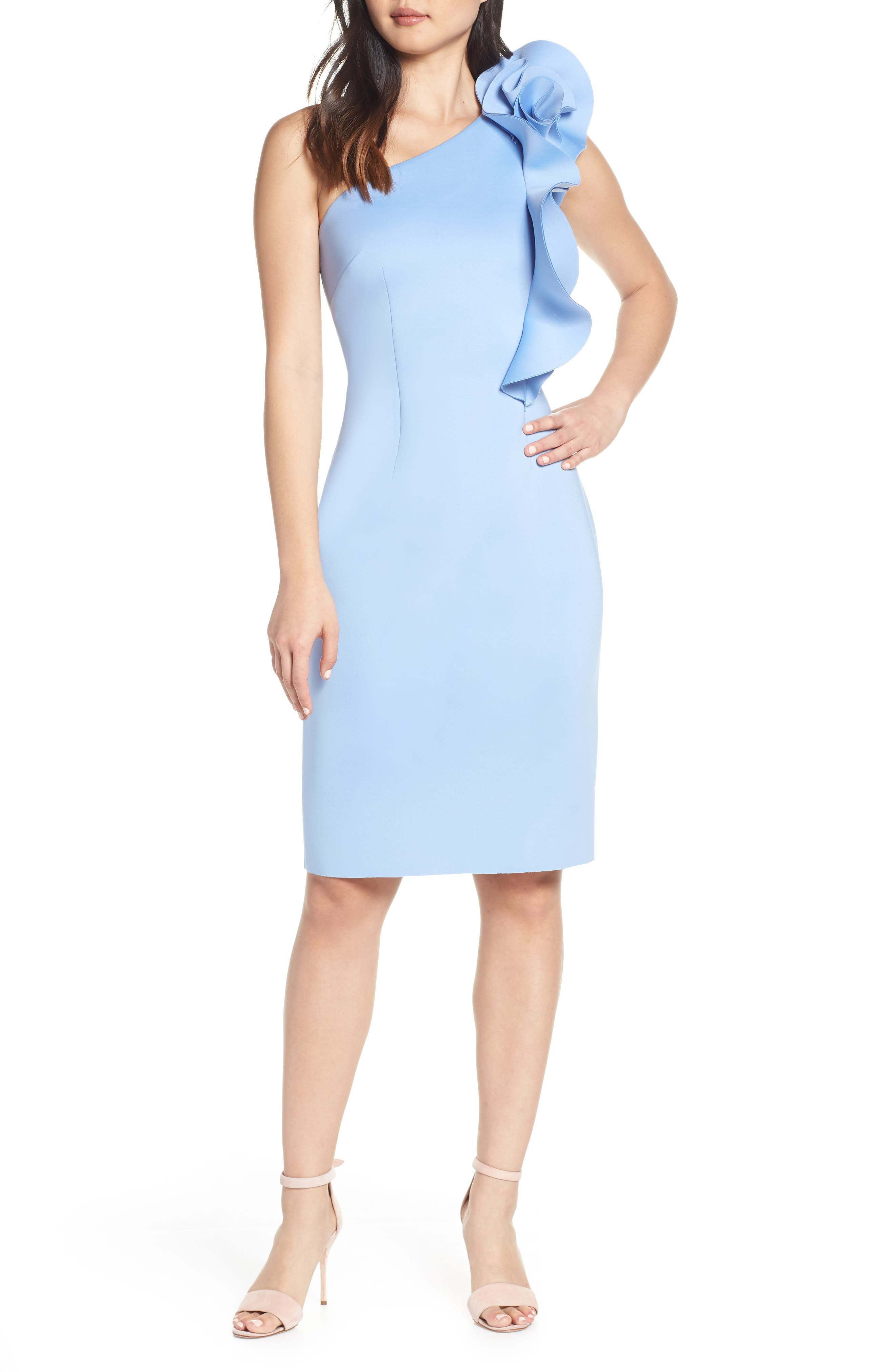 Eliza J Ruffle Sheath Dress, Blue