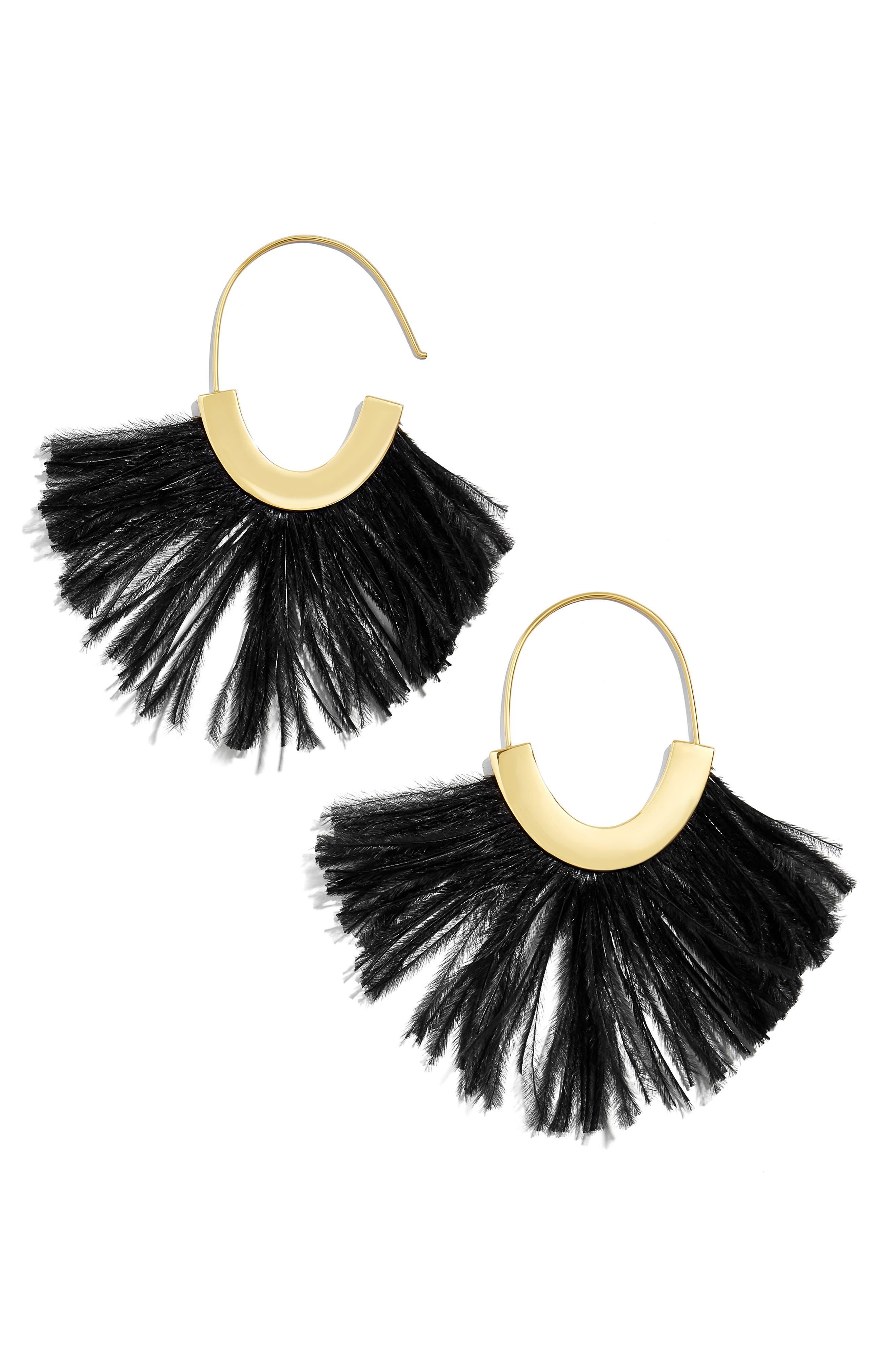 Feather Faidra Hoop Earrings, Main, color, 001