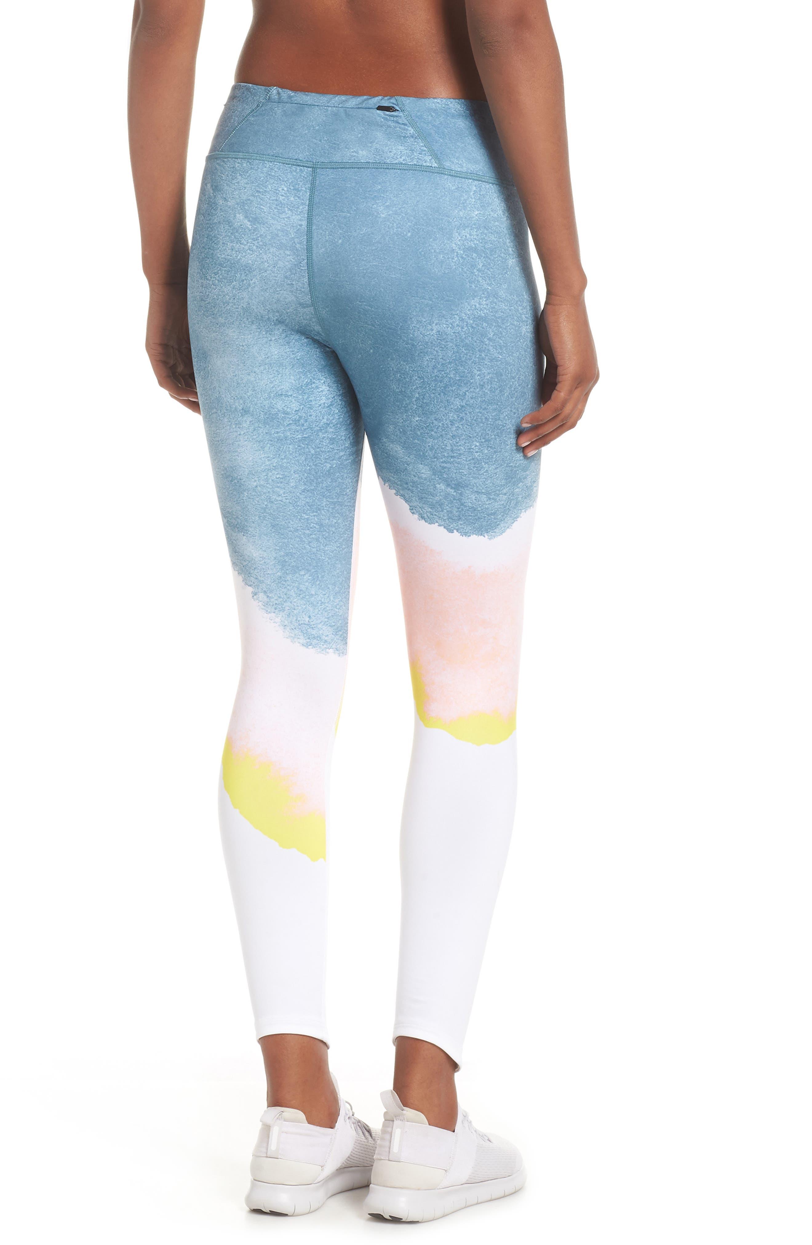 Epic Lux Running Leggings,                             Alternate thumbnail 2, color,                             WHITE/ STORM PINK/ GOLD