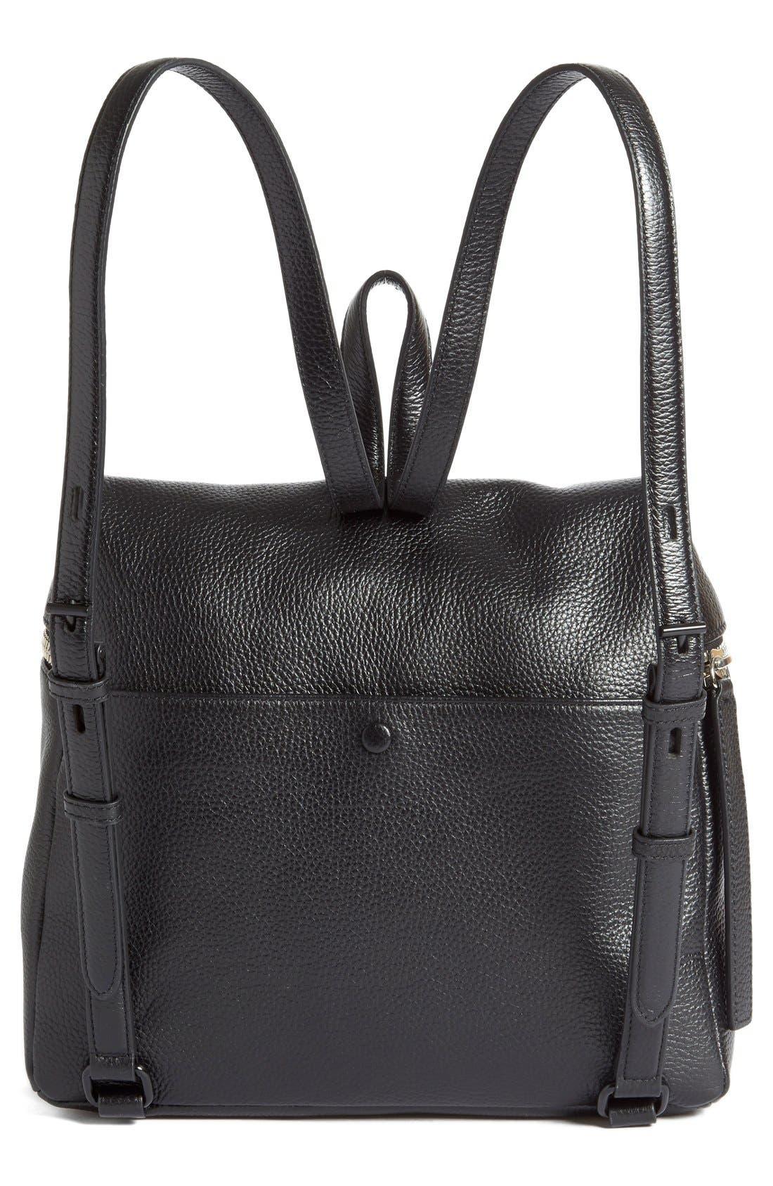 Leather Backpack,                             Alternate thumbnail 7, color,                             BLACK