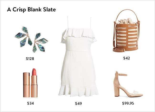 A crisp blank slate: little white dress, accessories, shoes and more.