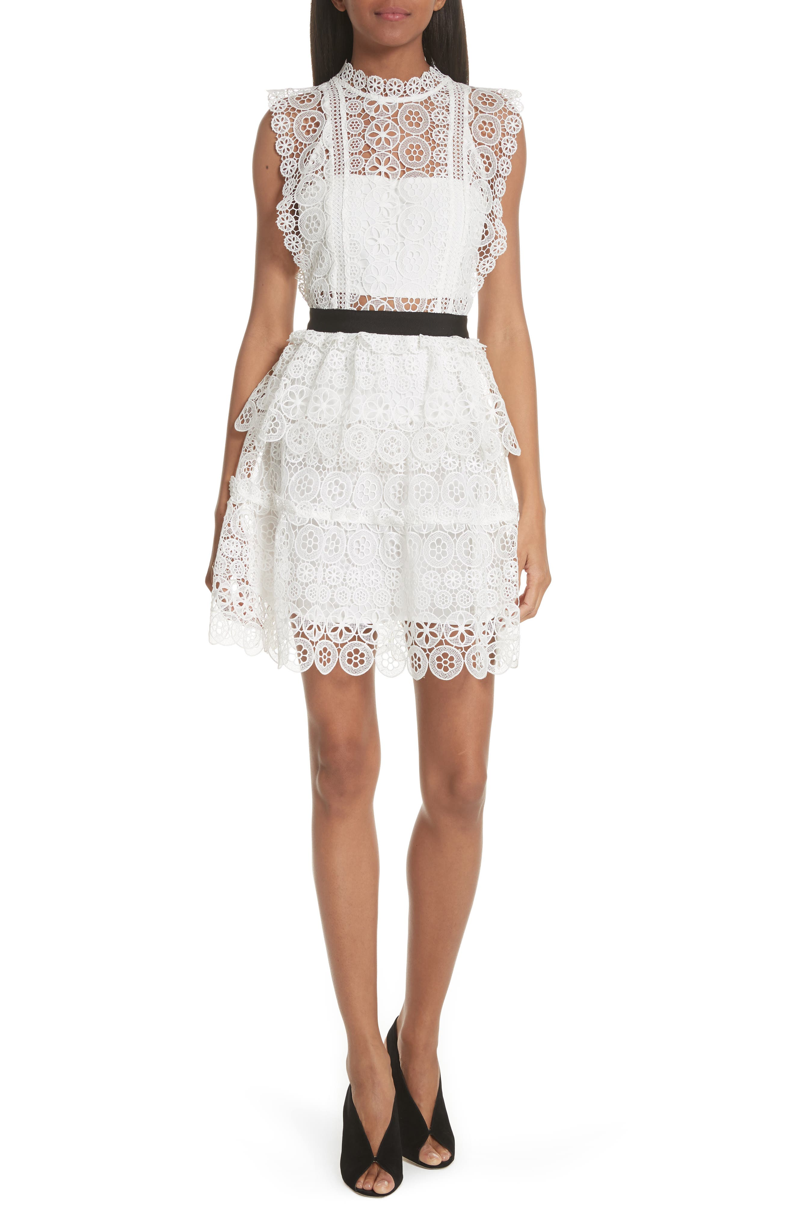 Floral Lace Tiered Dress,                         Main,                         color, 100
