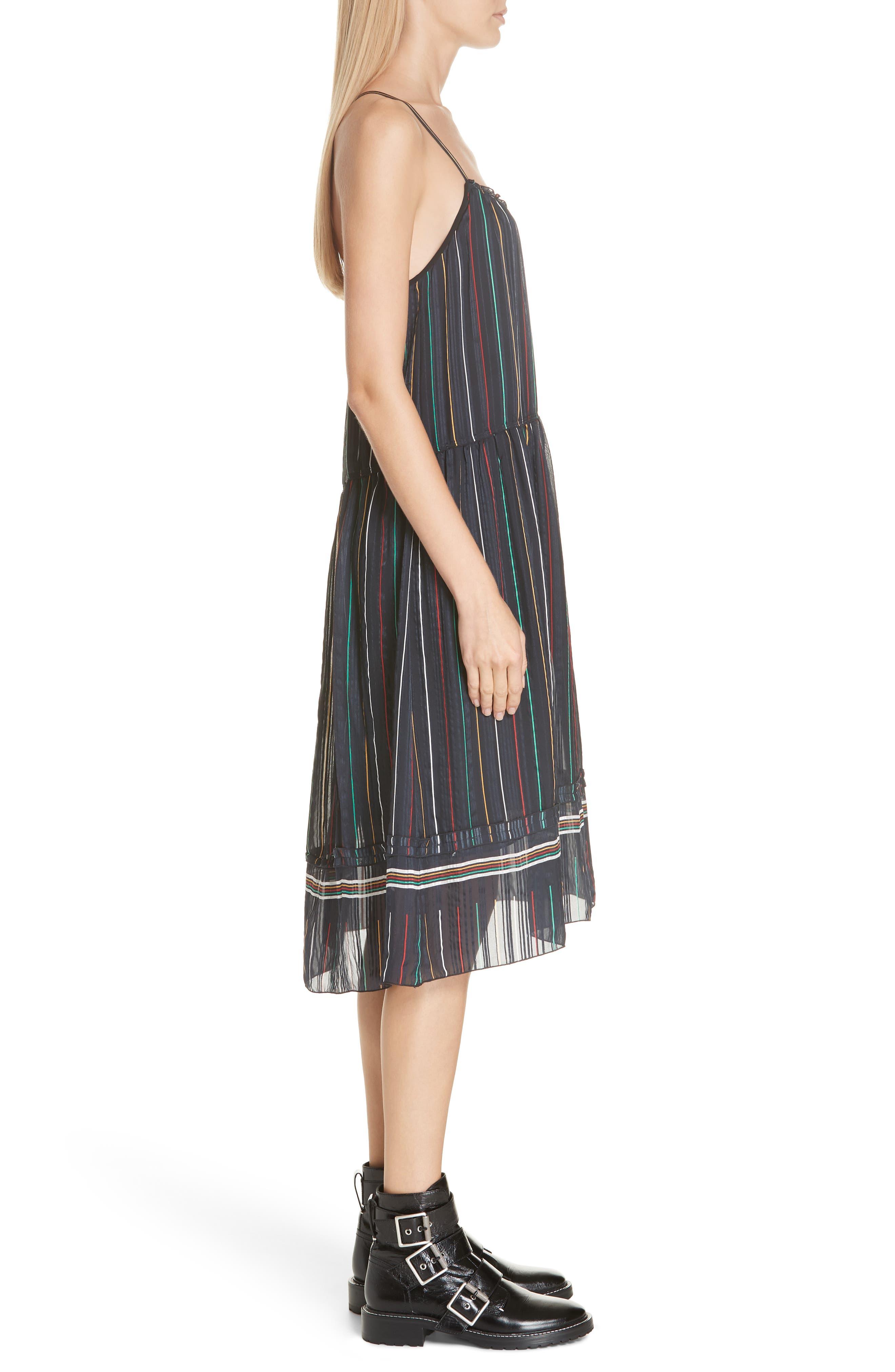 Austin Stripe Silk Midi Dress,                             Alternate thumbnail 3, color,                             BLACK STRIPE