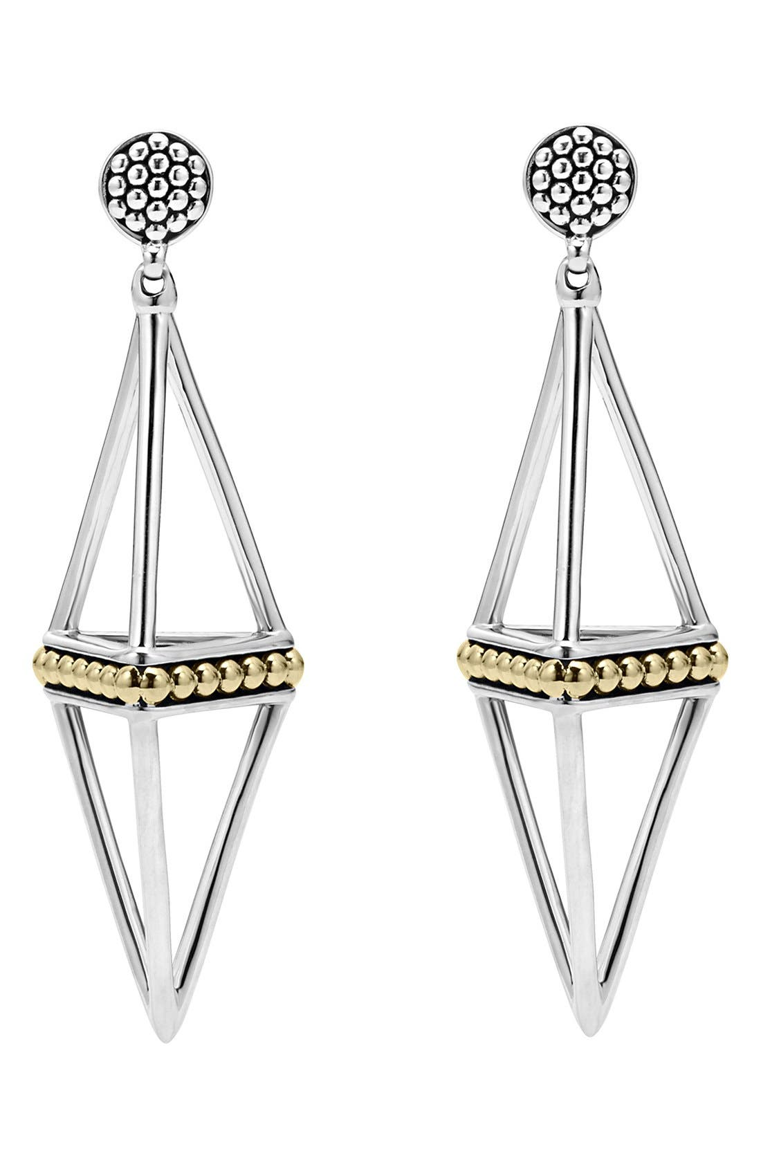 'KSL' Pyramid Drop Earrings,                             Alternate thumbnail 3, color,                             040