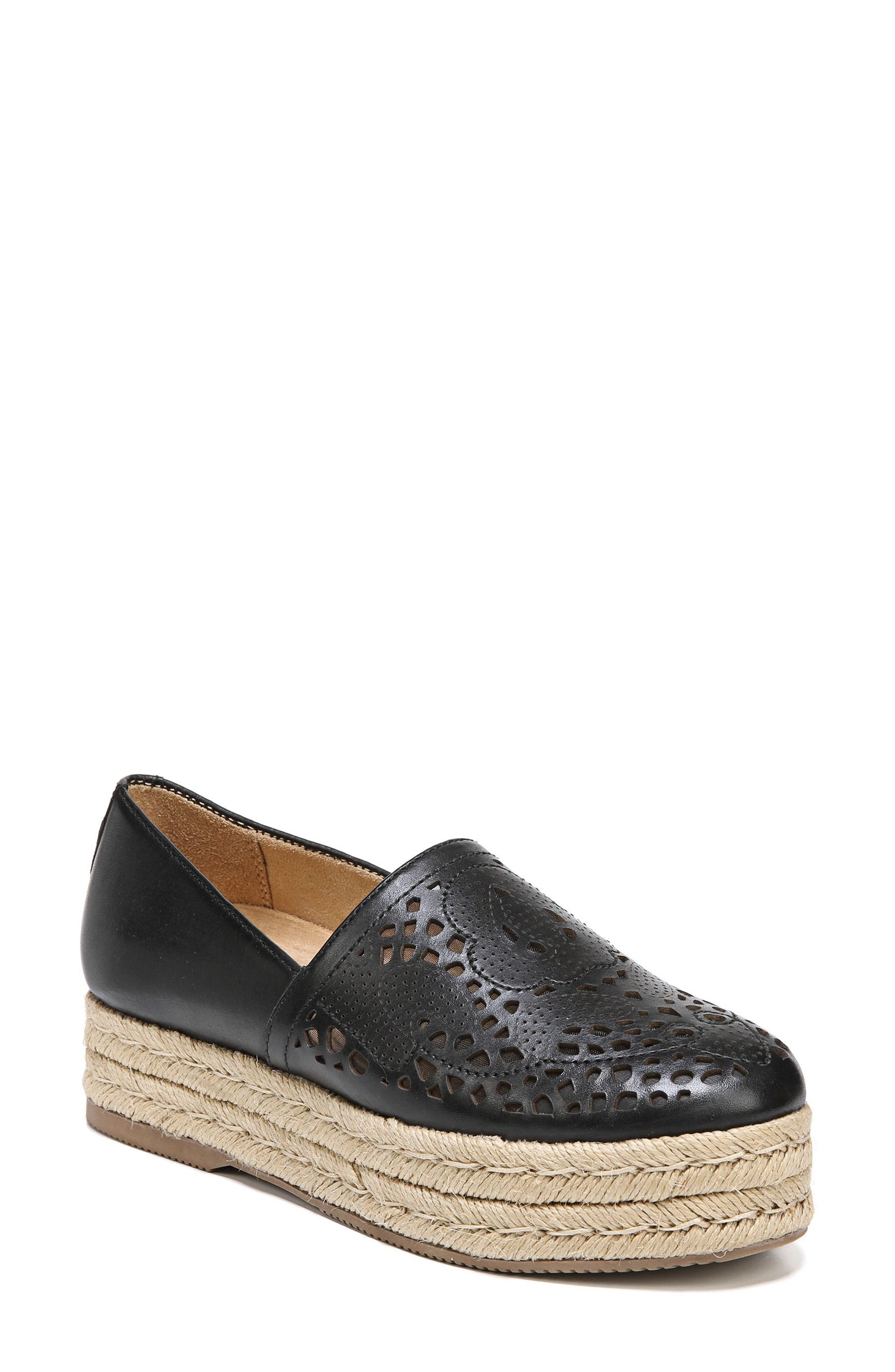 Thea Perforated Platform Espadrille,                             Main thumbnail 1, color,                             001