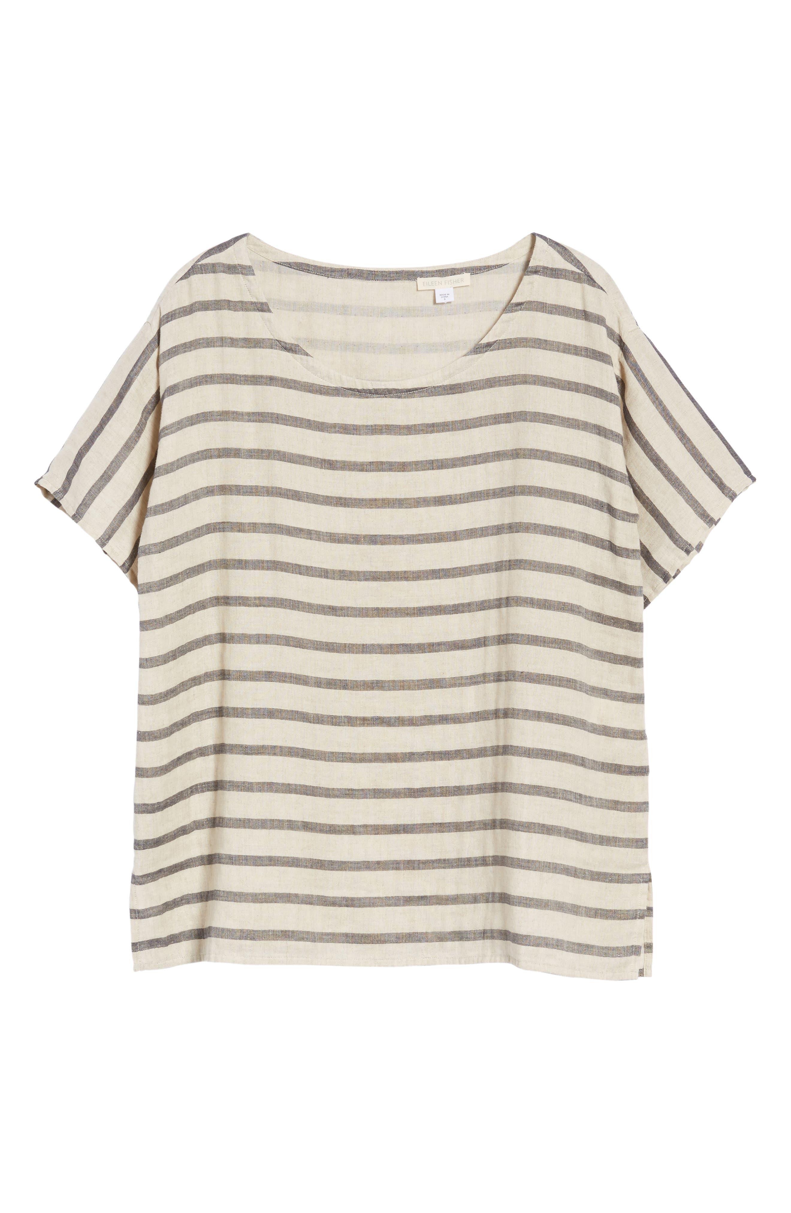 Stripe Linen & Organic Cotton Top,                             Alternate thumbnail 7, color,                             257