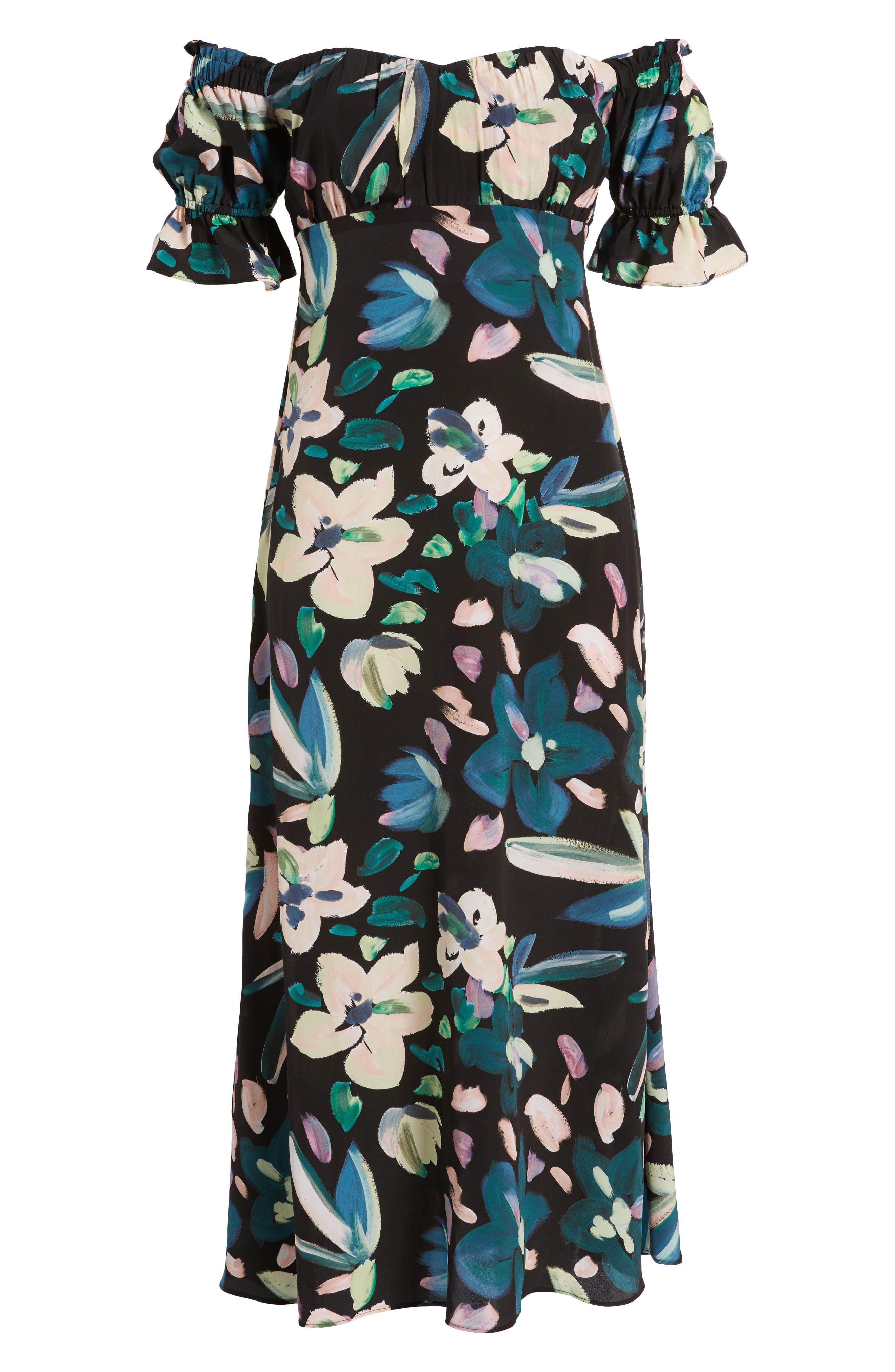 Flores Off the Shoulder Midi Dress,                             Alternate thumbnail 6, color,                             001
