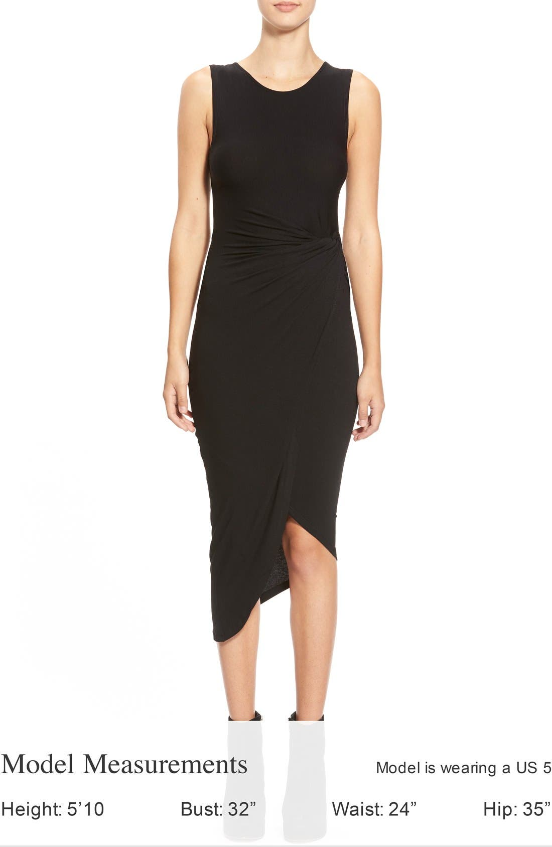 ASTR Knotted Body-Con Dress,                             Alternate thumbnail 3, color,                             001