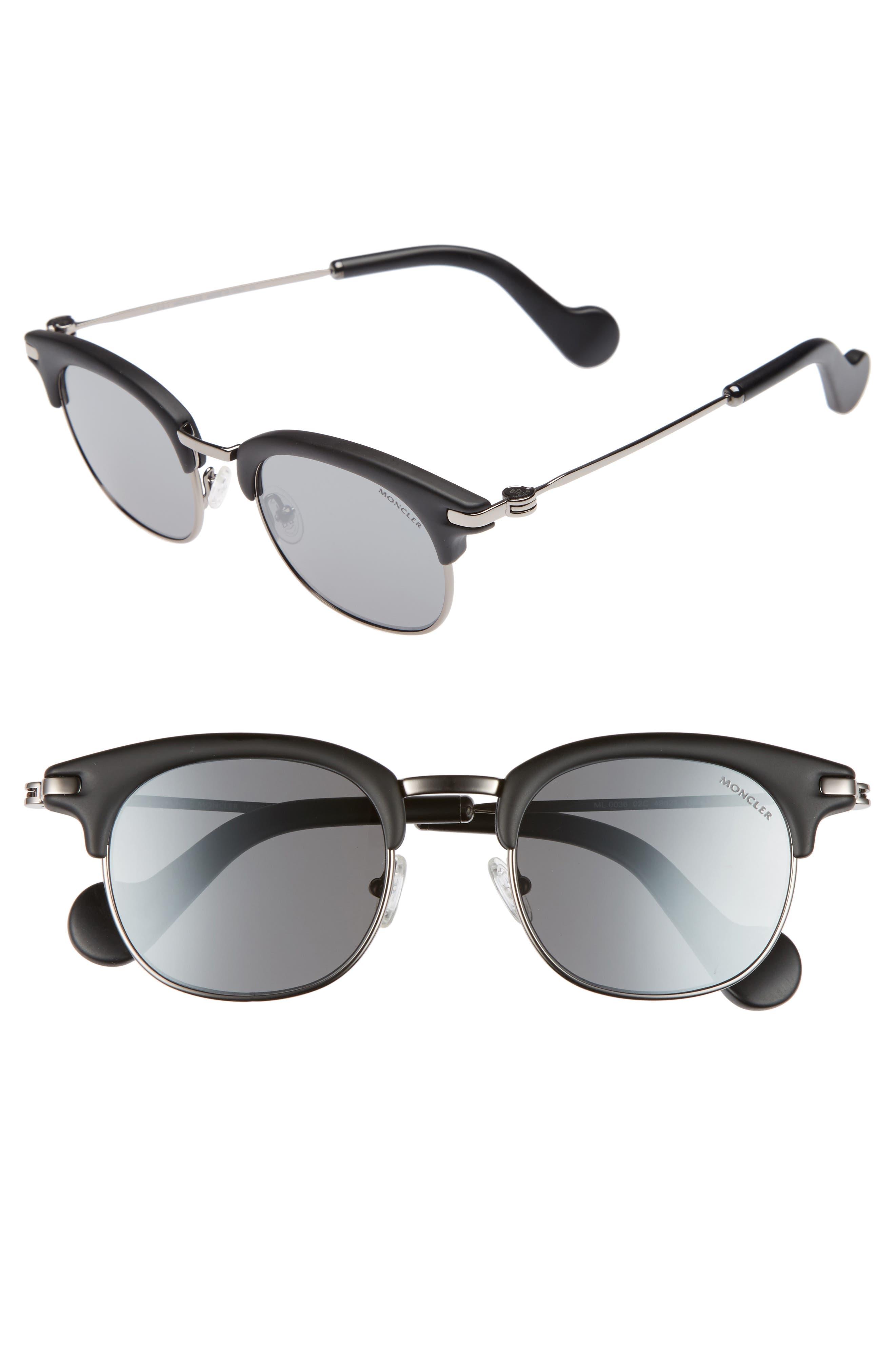 49mm Sunglasses,                         Main,                         color, MATTE BLACK/ RUTHENIUM