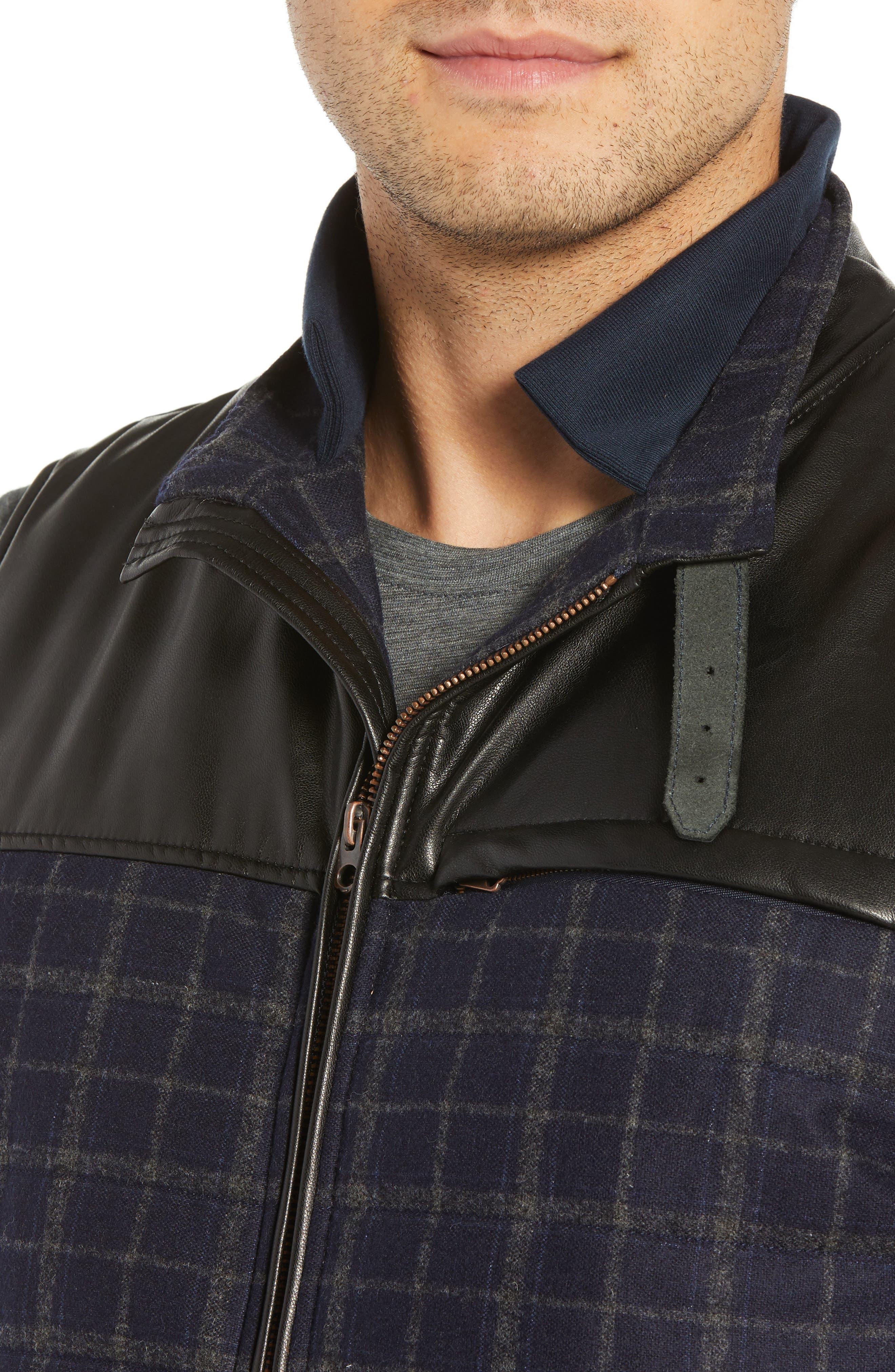 McClement Leather Trim Wool Blend Vest,                             Alternate thumbnail 4, color,                             BLUE