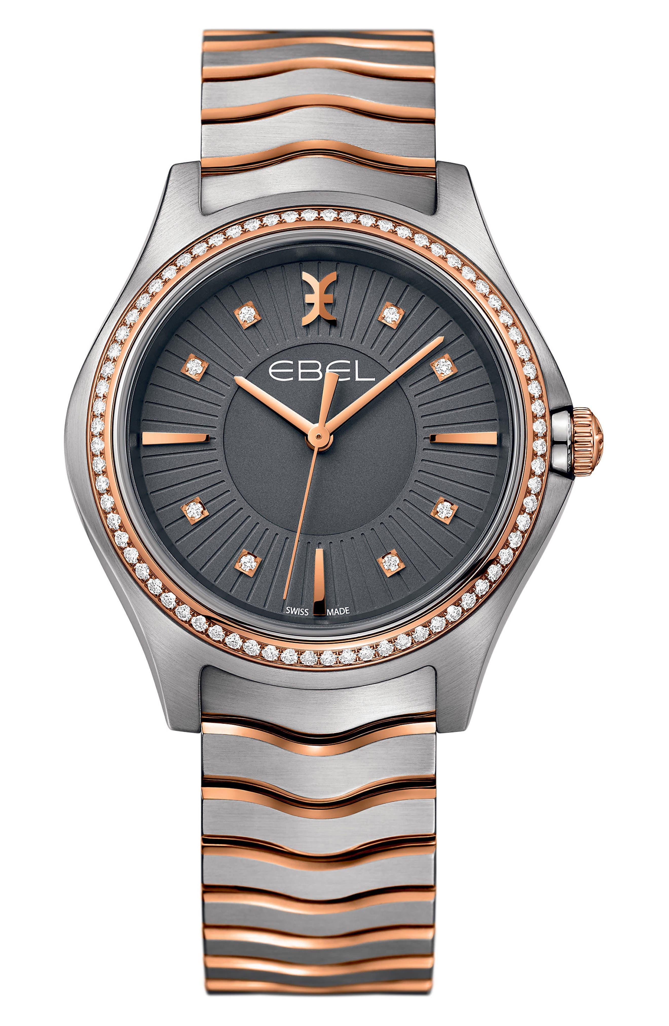 Wave Bracelet Watch, 35mm,                         Main,                         color, SILVER/ GREY/ ROSE GOLD