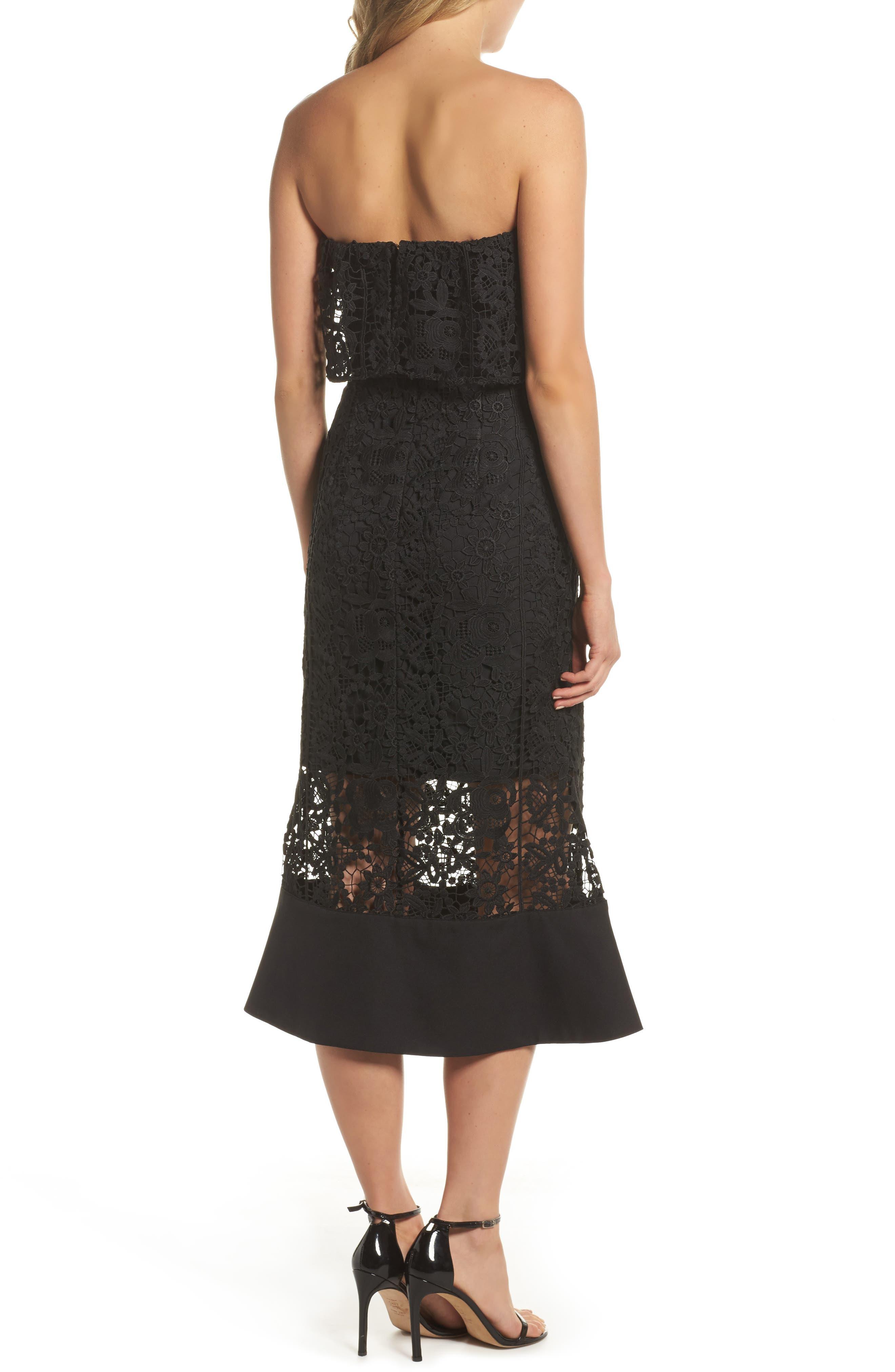 Xenia Strapless Lace Midi Dress,                             Alternate thumbnail 2, color,                             001