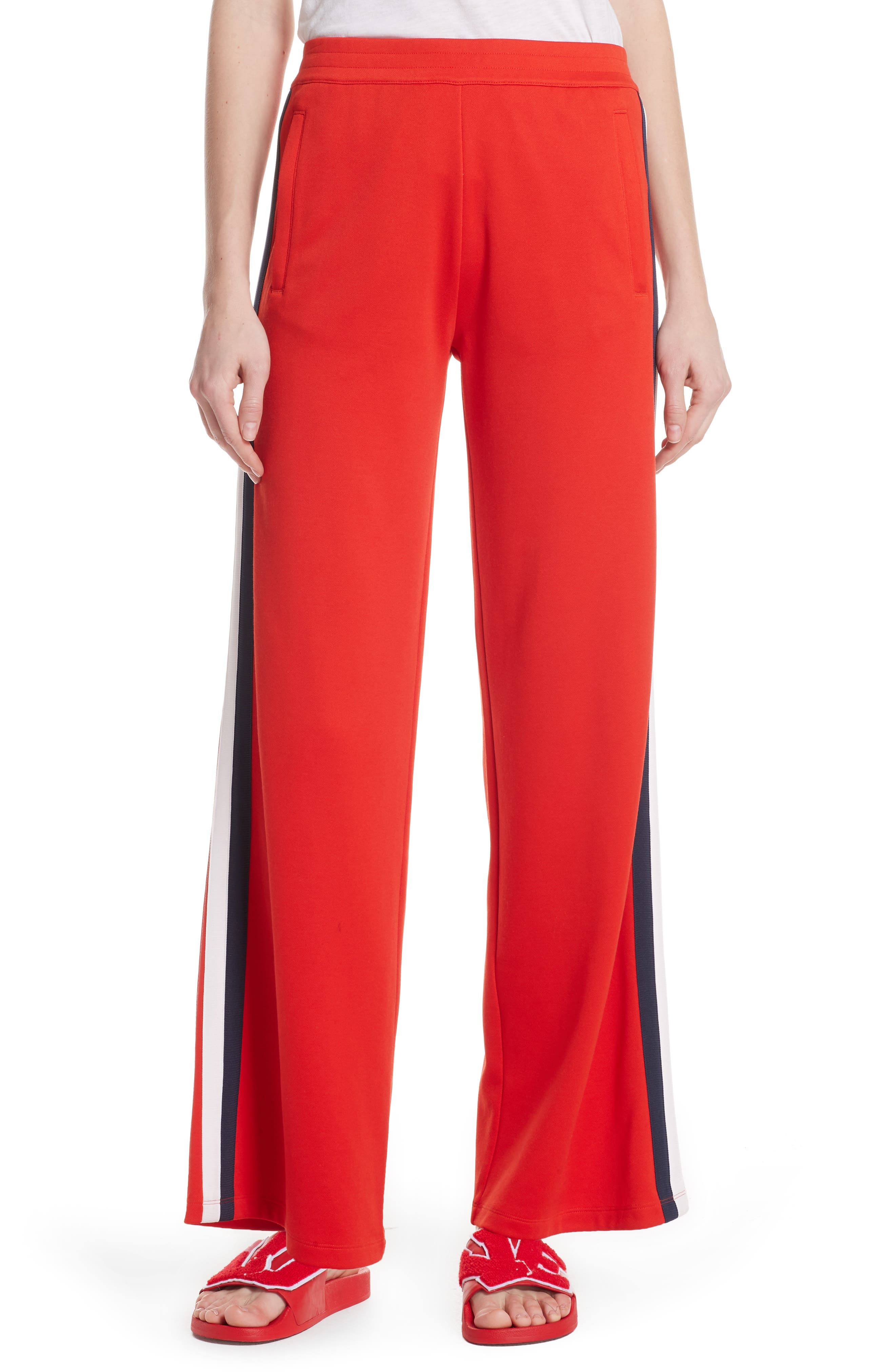 Wide-Leg Double-Stripe Track Pants in Red