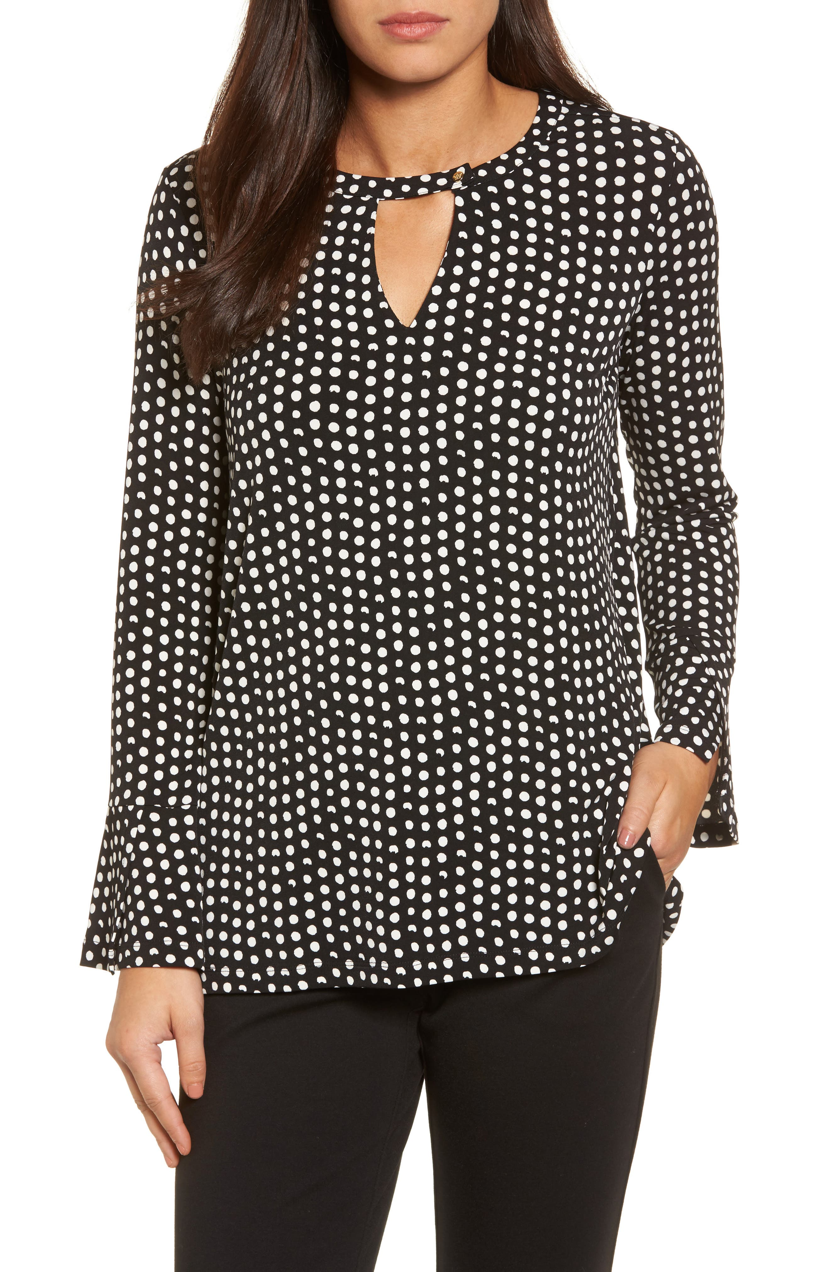 Polka Dot Matte Jersey Top,                         Main,                         color,