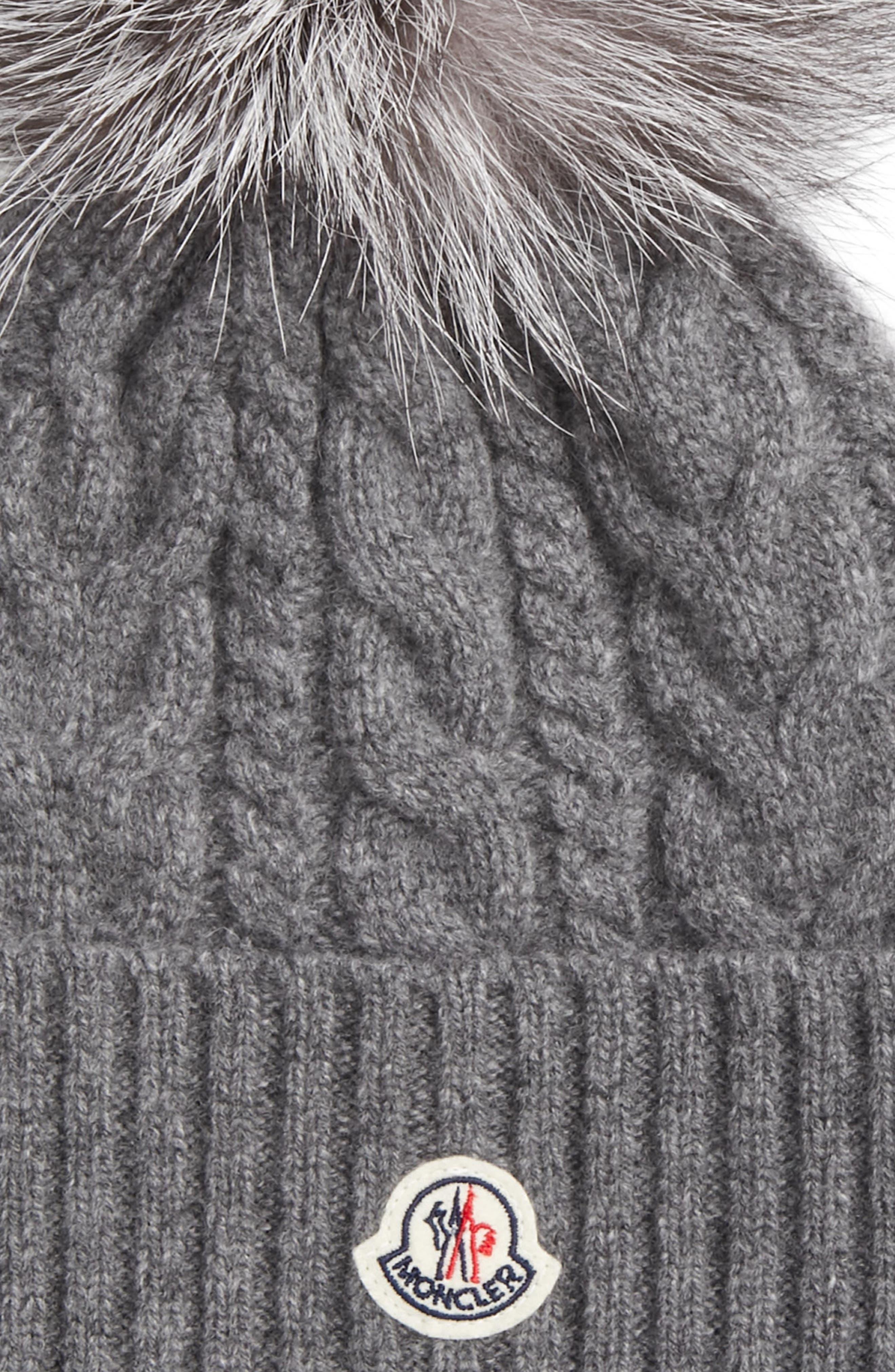 Cable Knit Beanie with Genuine Fox Fur Pom,                             Alternate thumbnail 2, color,                             GREY