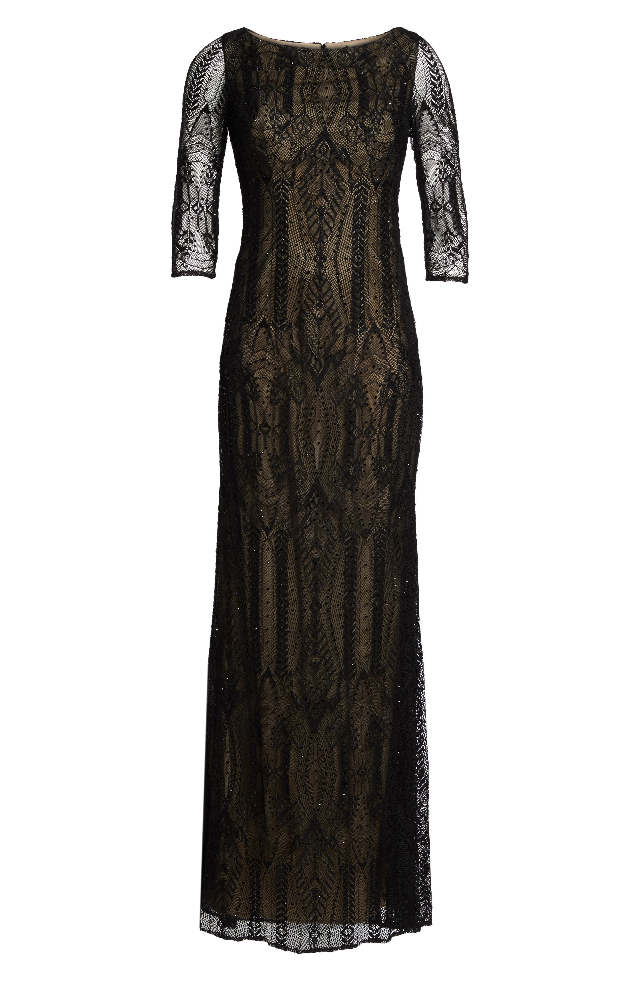 Crystal Lace Column Gown,                             Alternate thumbnail 6, color,                             BLACK