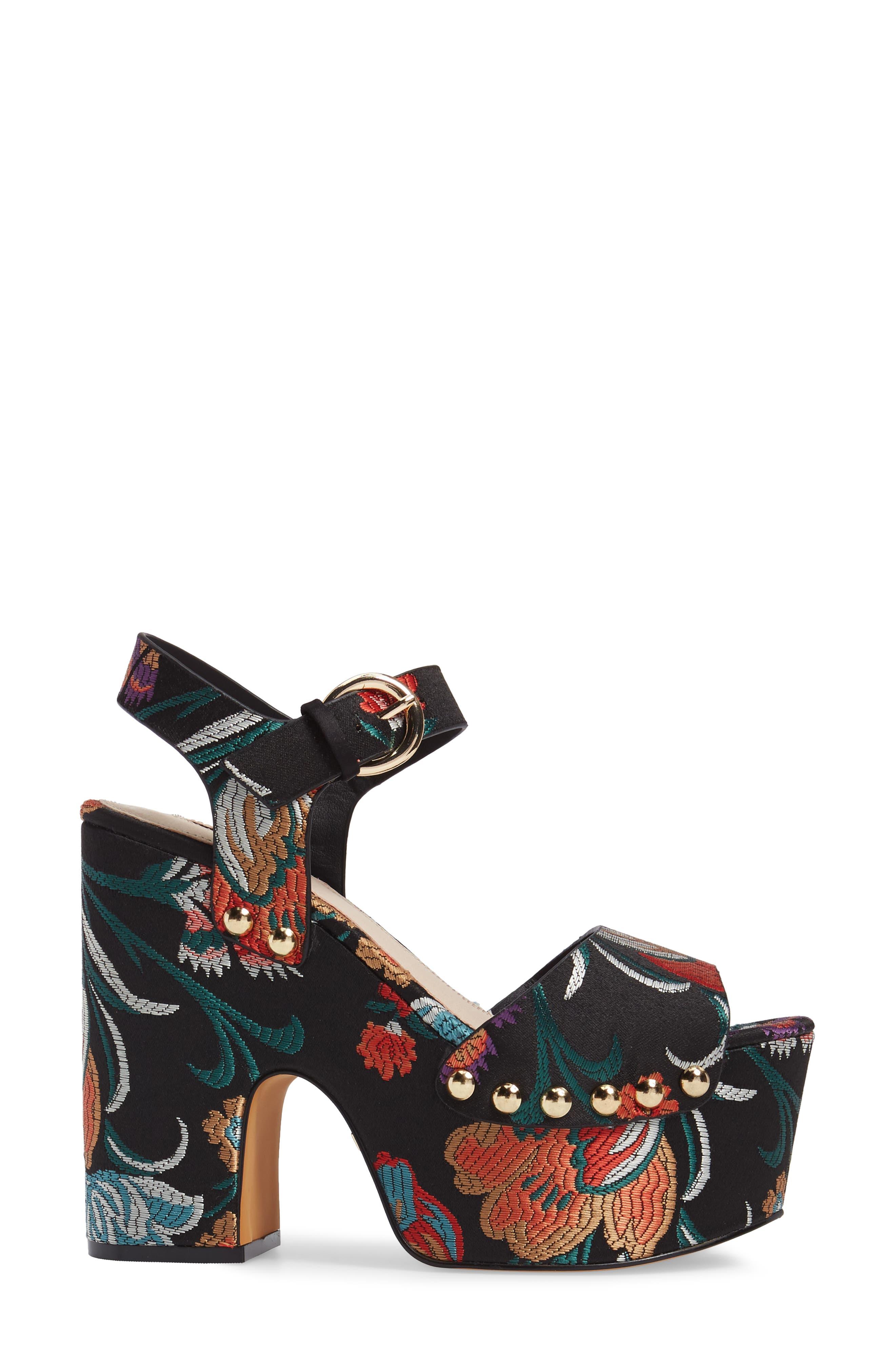 Lourdes Embroidered Platform Sandal,                             Alternate thumbnail 3, color,                             001