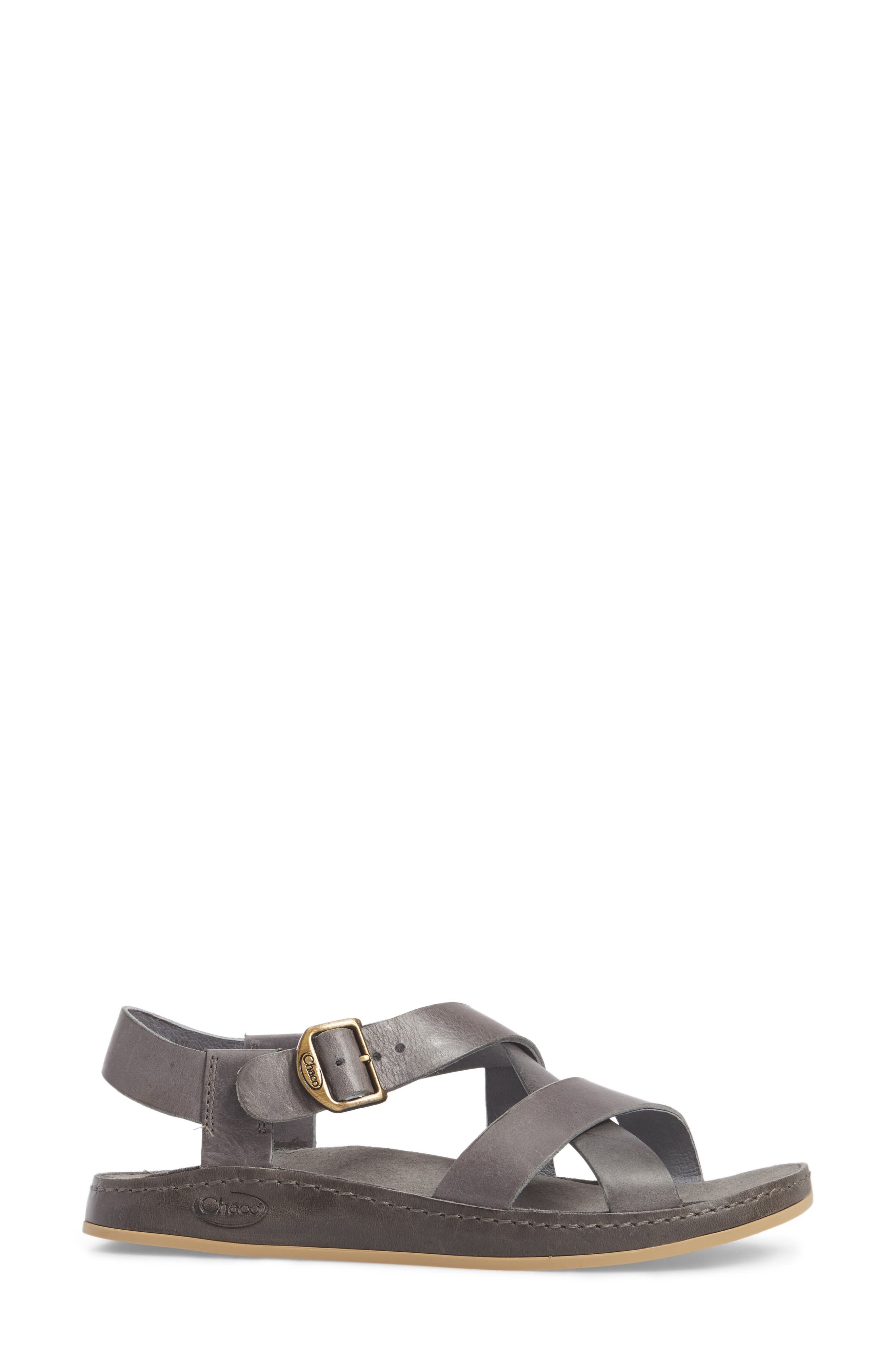 Strappy Sandal,                             Alternate thumbnail 3, color,                             GREY LEATHER