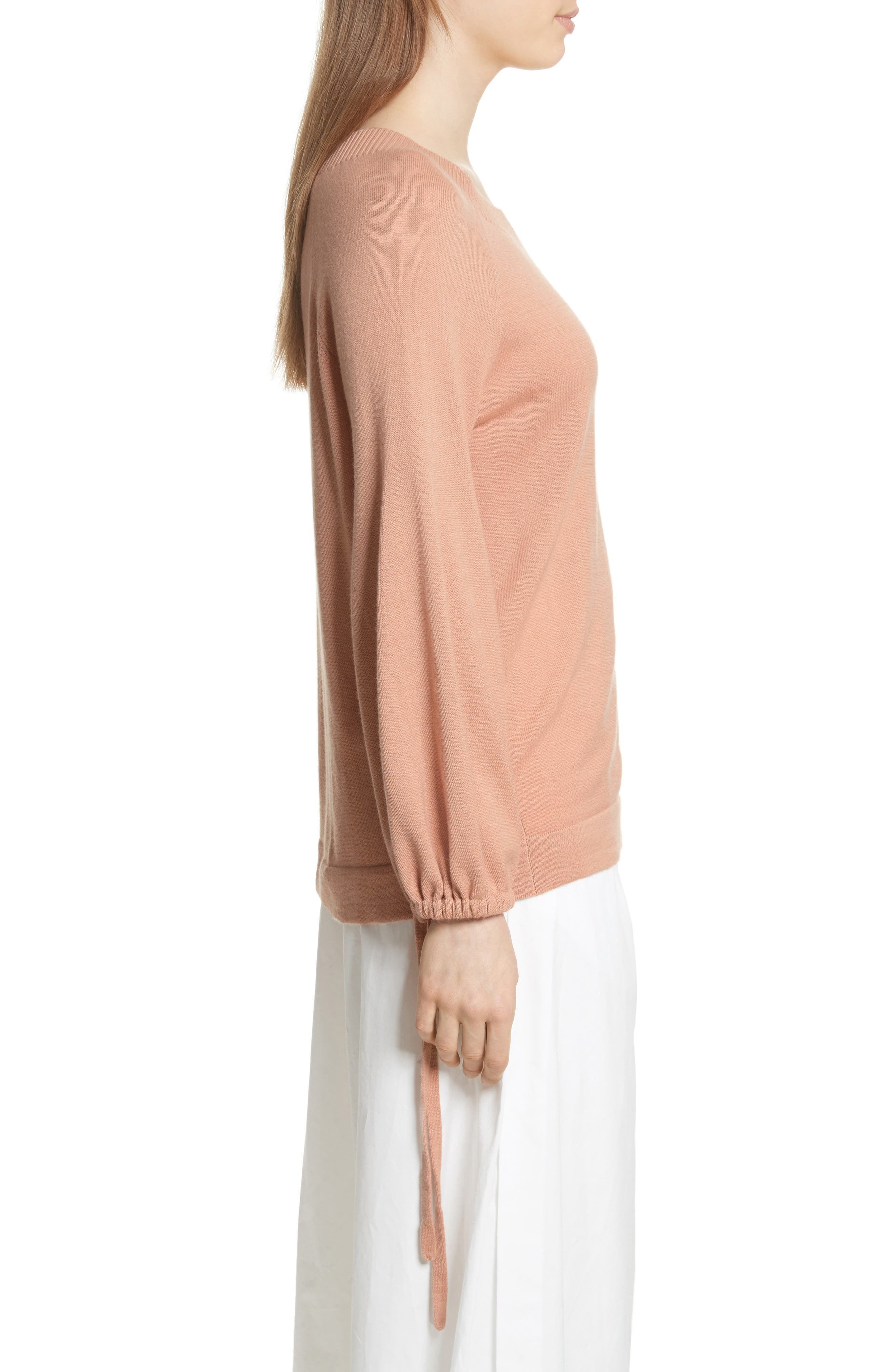 Scrunch Sleeve Cashmere Sweater,                             Alternate thumbnail 6, color,