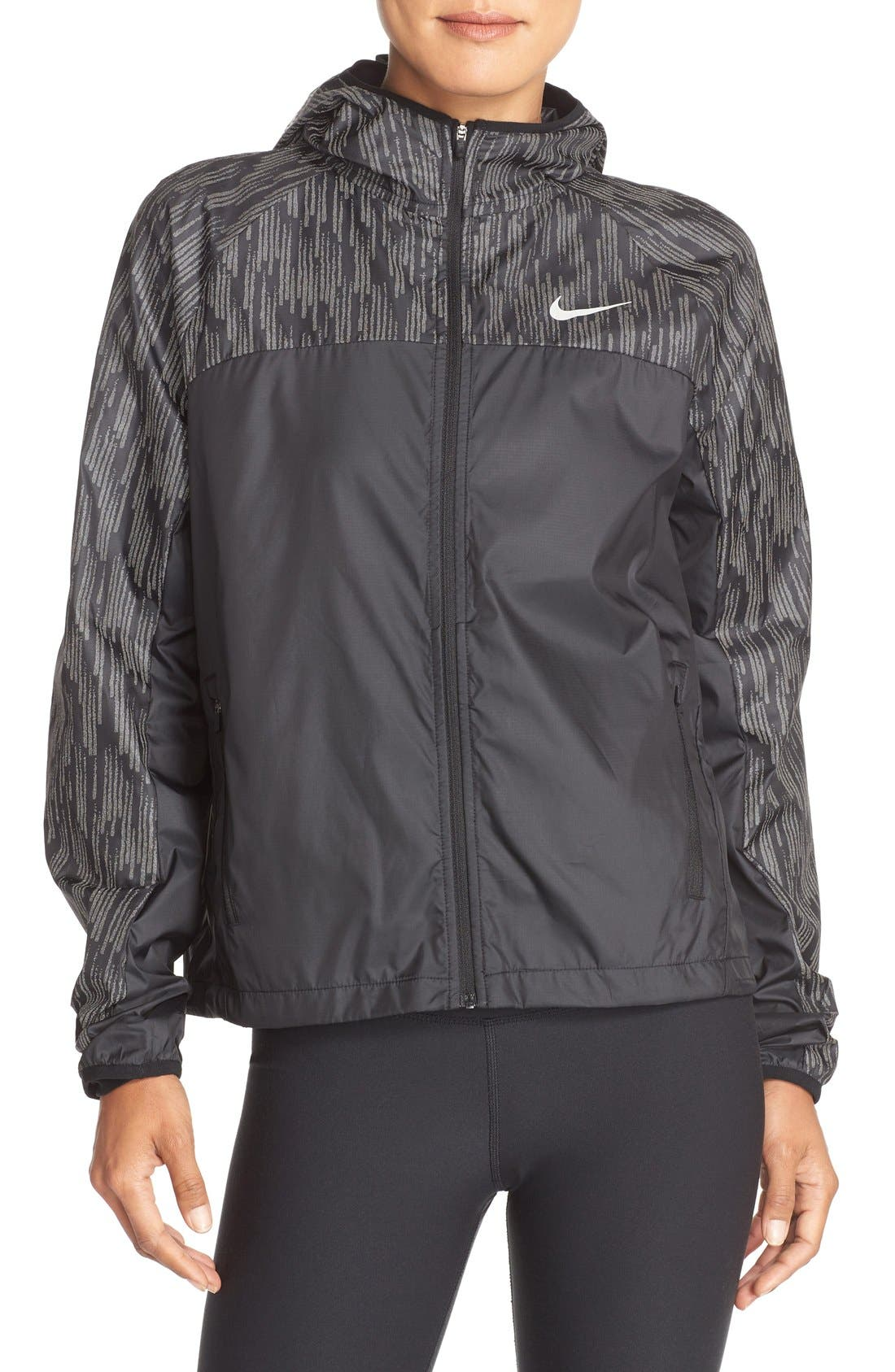 NIKE,                             Shield Flash Running Jacket,                             Main thumbnail 1, color,                             010