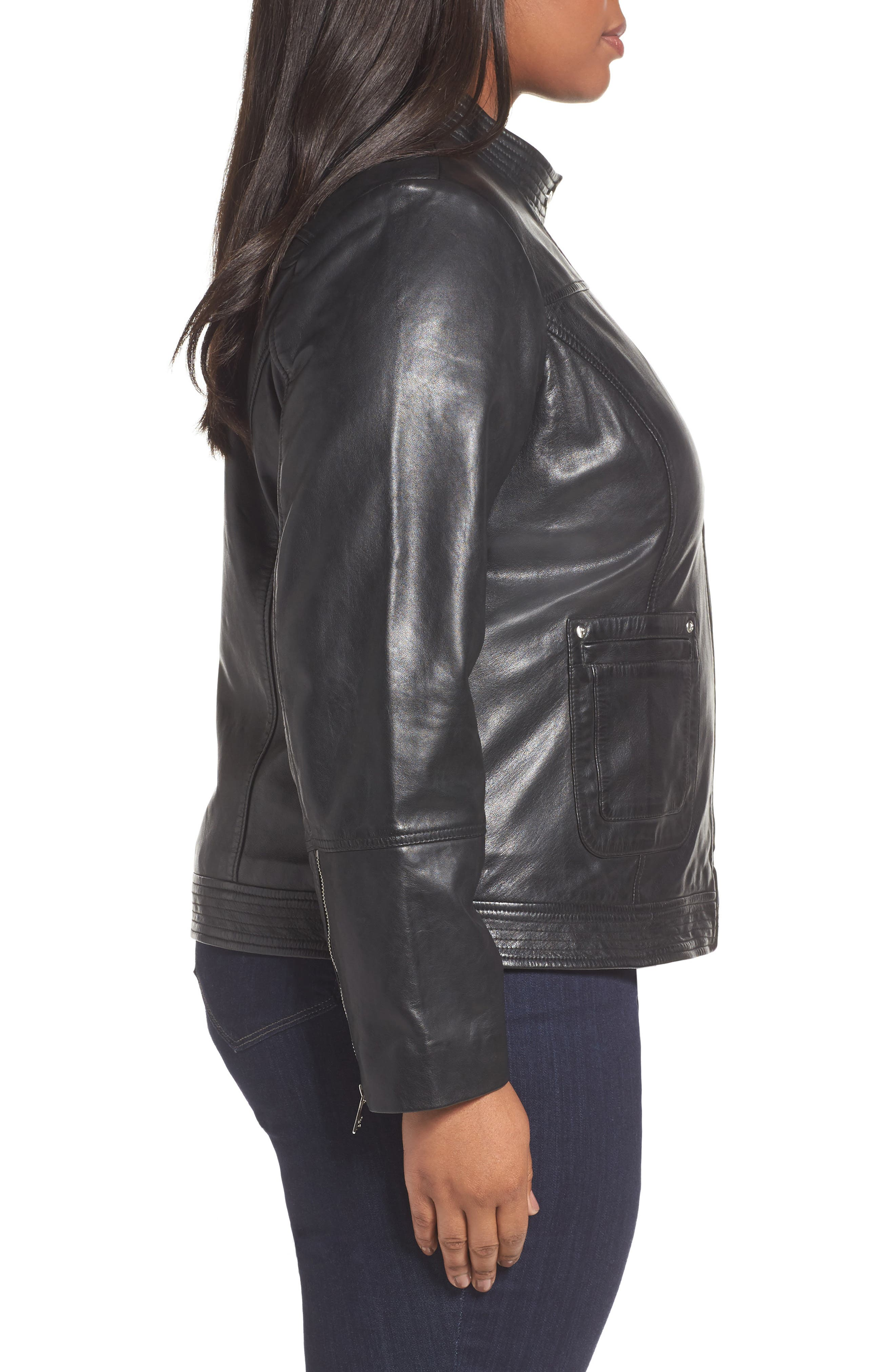 Kirwin Sheepskin Leather Jacket,                             Alternate thumbnail 3, color,                             001