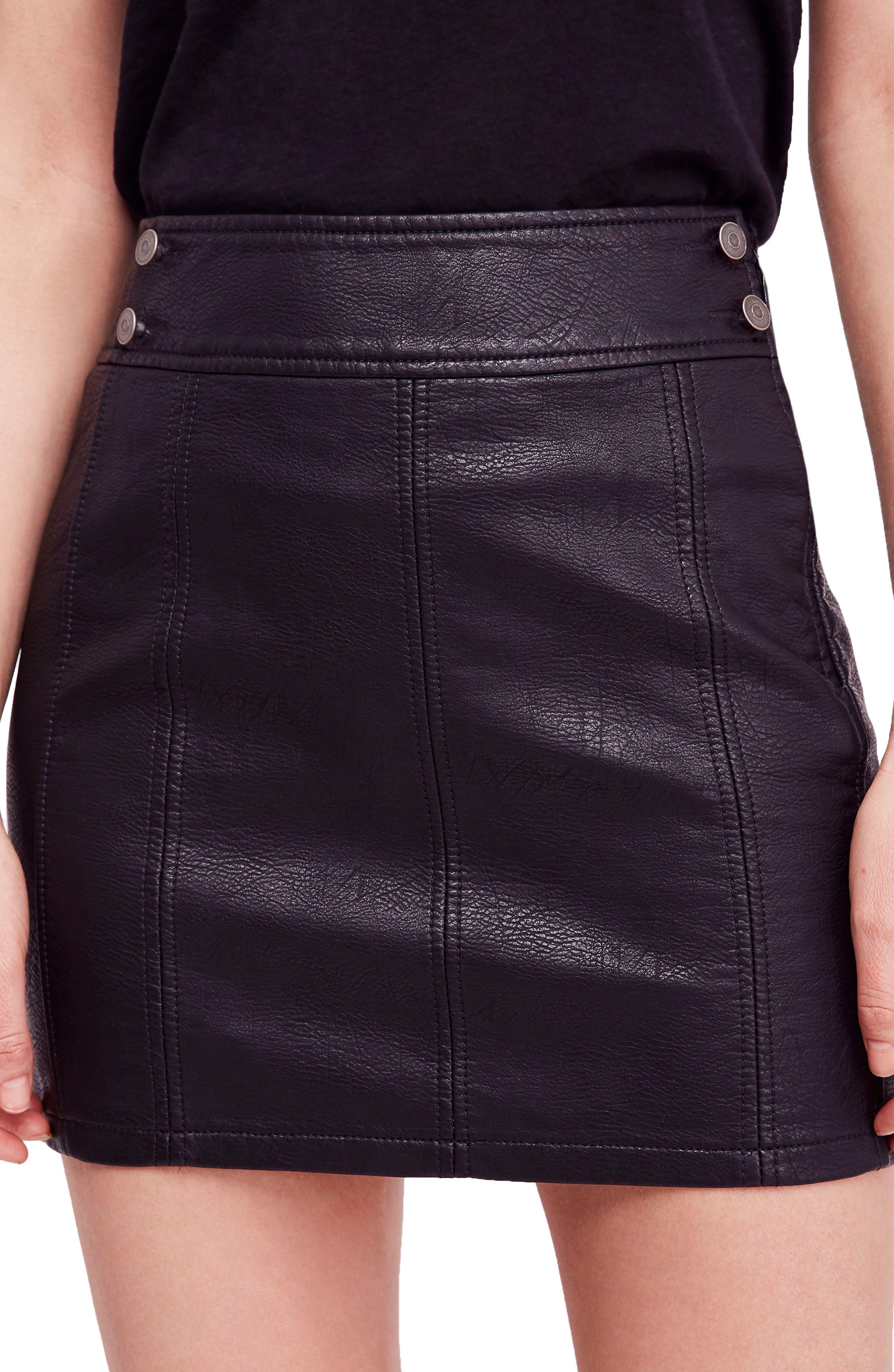 Free People Retro Faux Leather Body-Con Miniskirt, Black