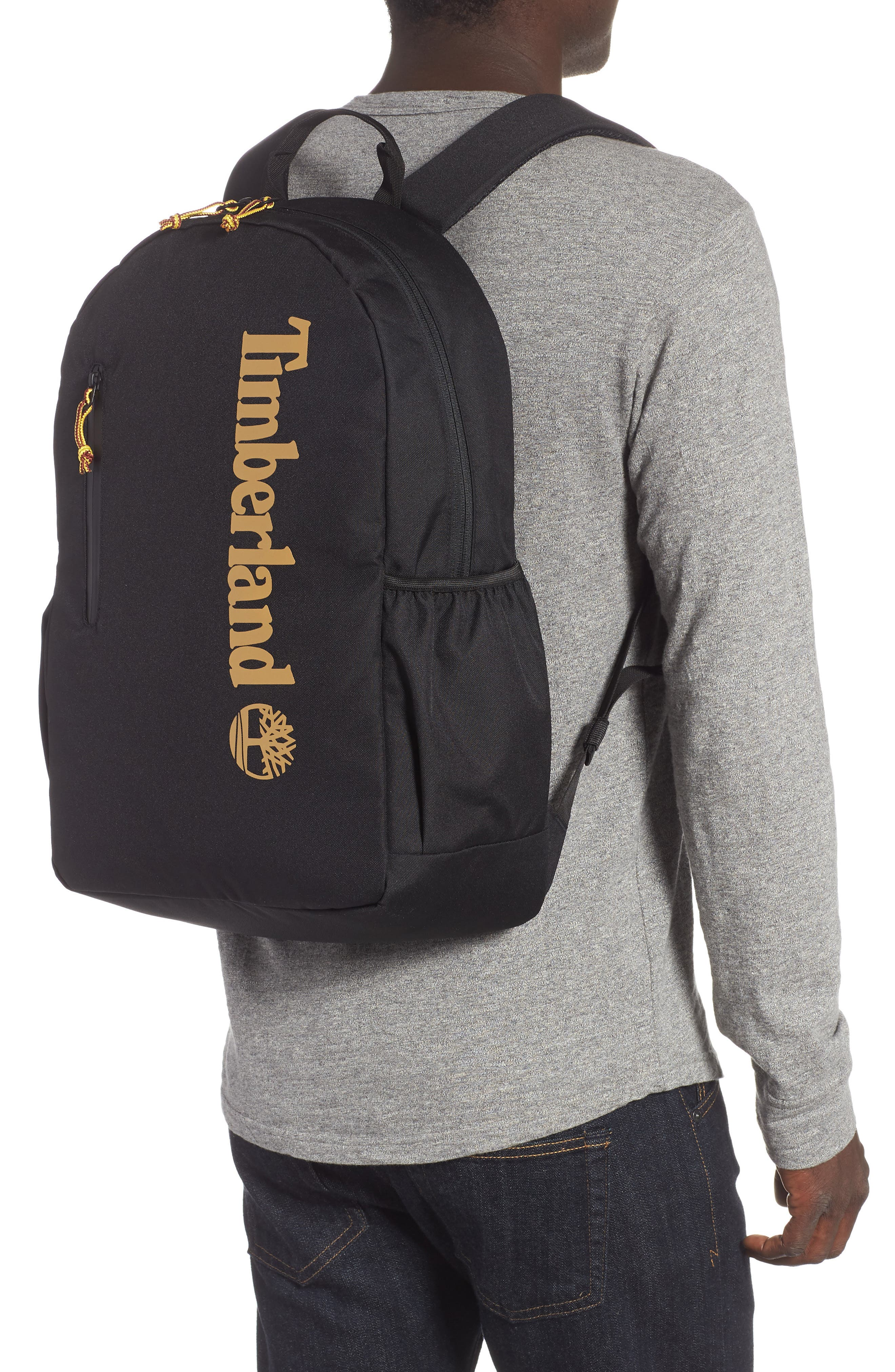 Linear Logo Water Resistant Backpack,                             Alternate thumbnail 2, color,                             BLACK W/ WHEAT LOGO