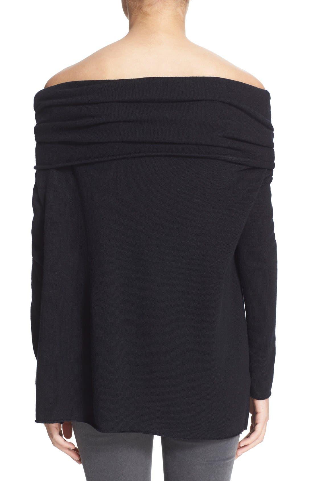 VINCE,                             Cashmere Off the Shoulder Pullover,                             Alternate thumbnail 3, color,                             001