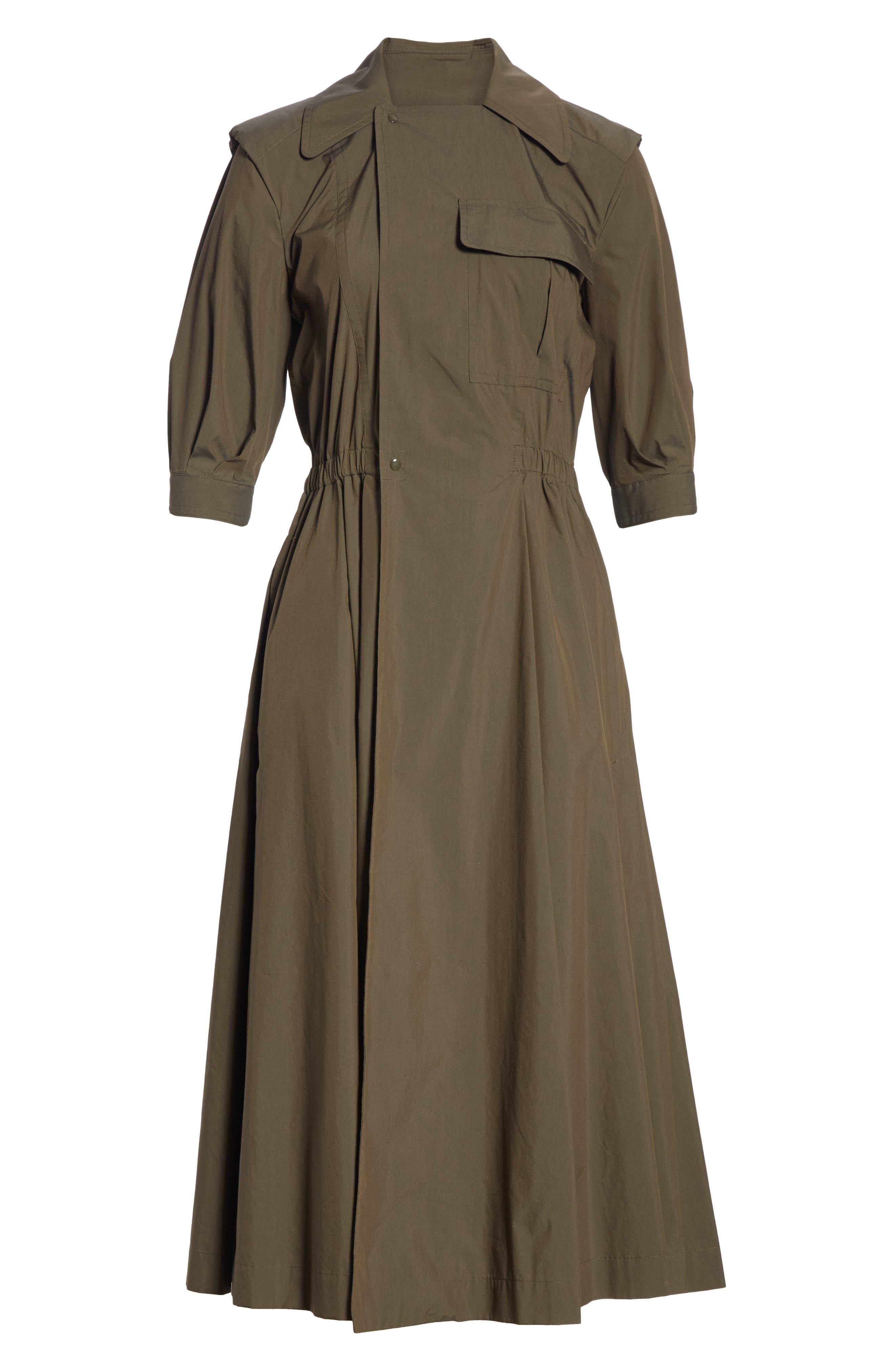 TOGA,                             Trench Taffeta Shirtdress,                             Alternate thumbnail 6, color,                             BROWN