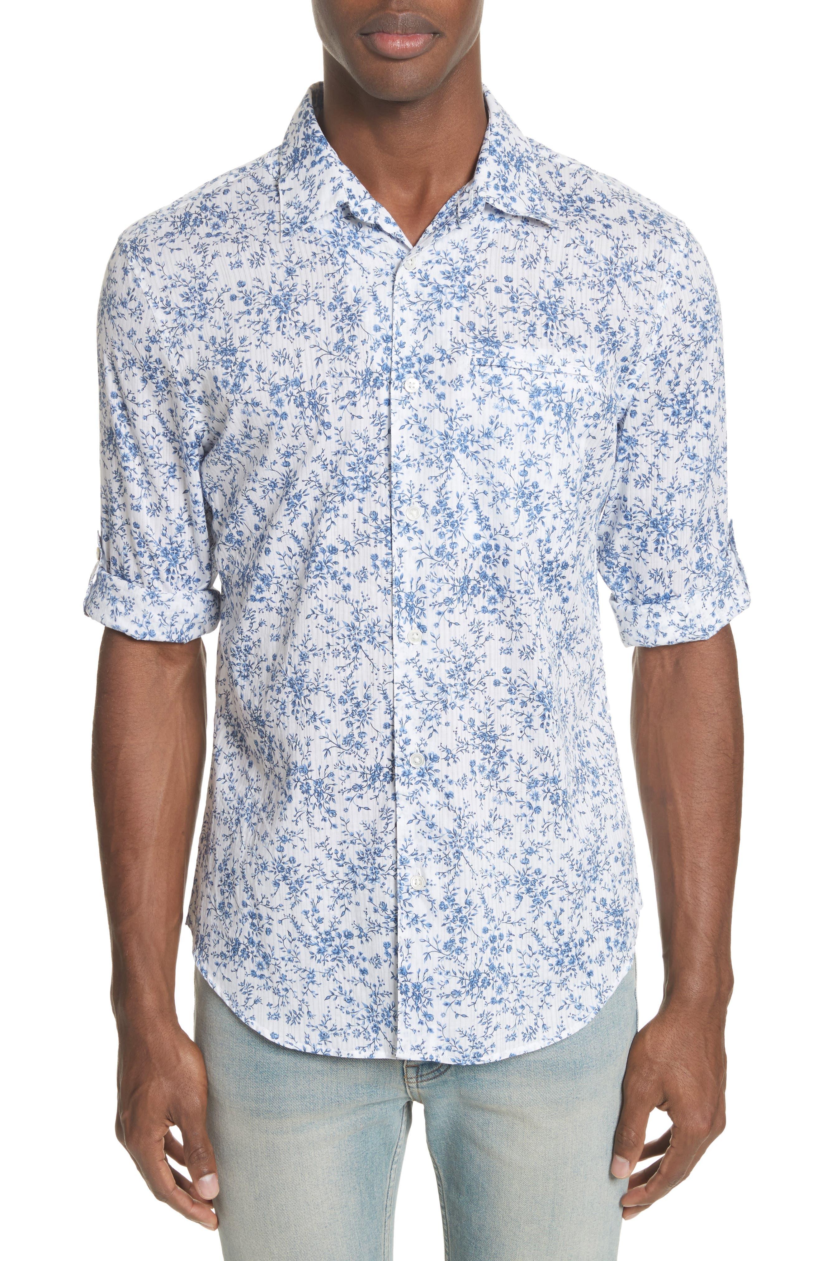 John Varvatos Slim Fit Floral Print Shirt,                             Main thumbnail 1, color,                             448