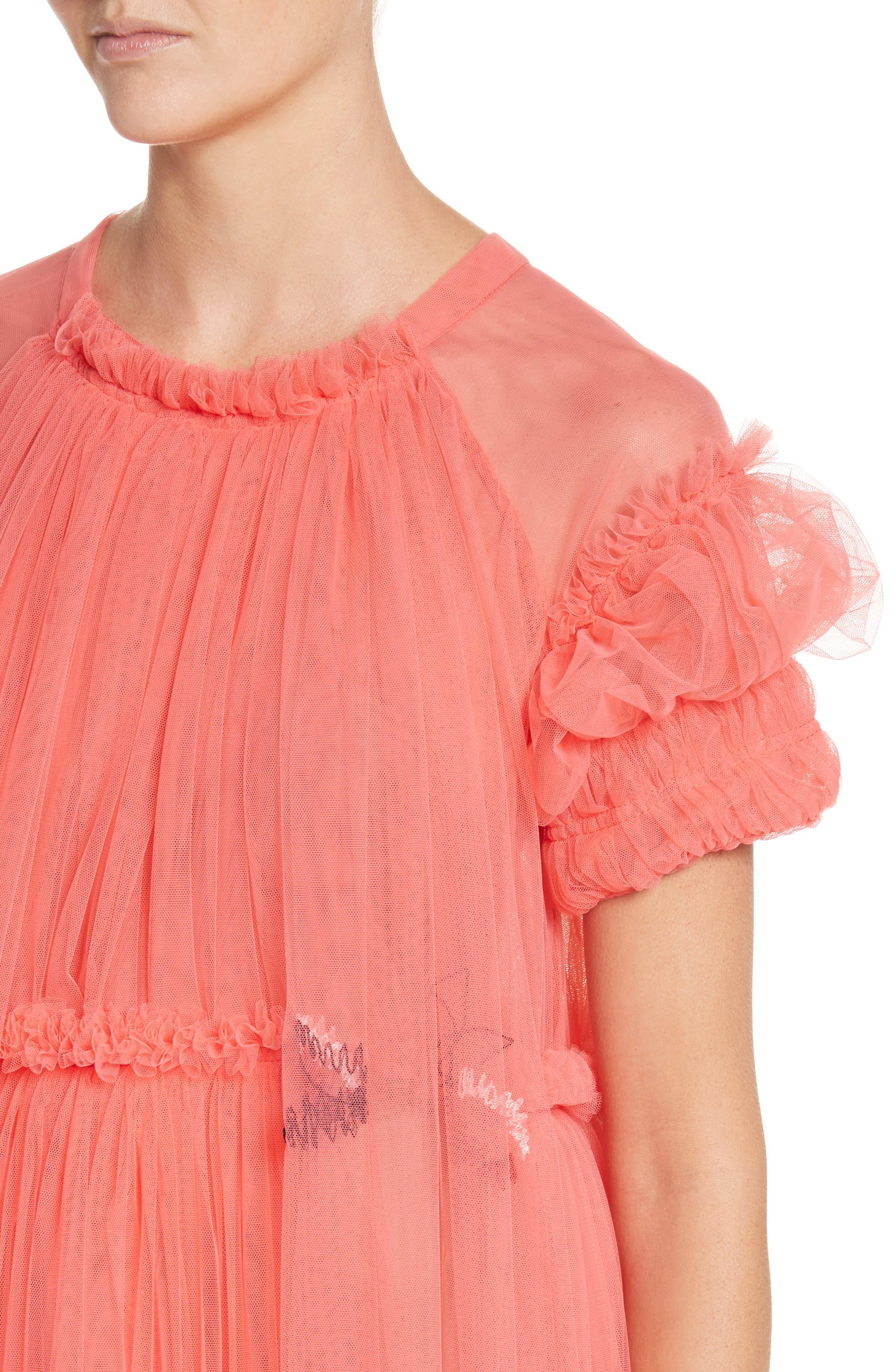 Doris Embroidered Tulle Dress,                             Alternate thumbnail 4, color,                             950