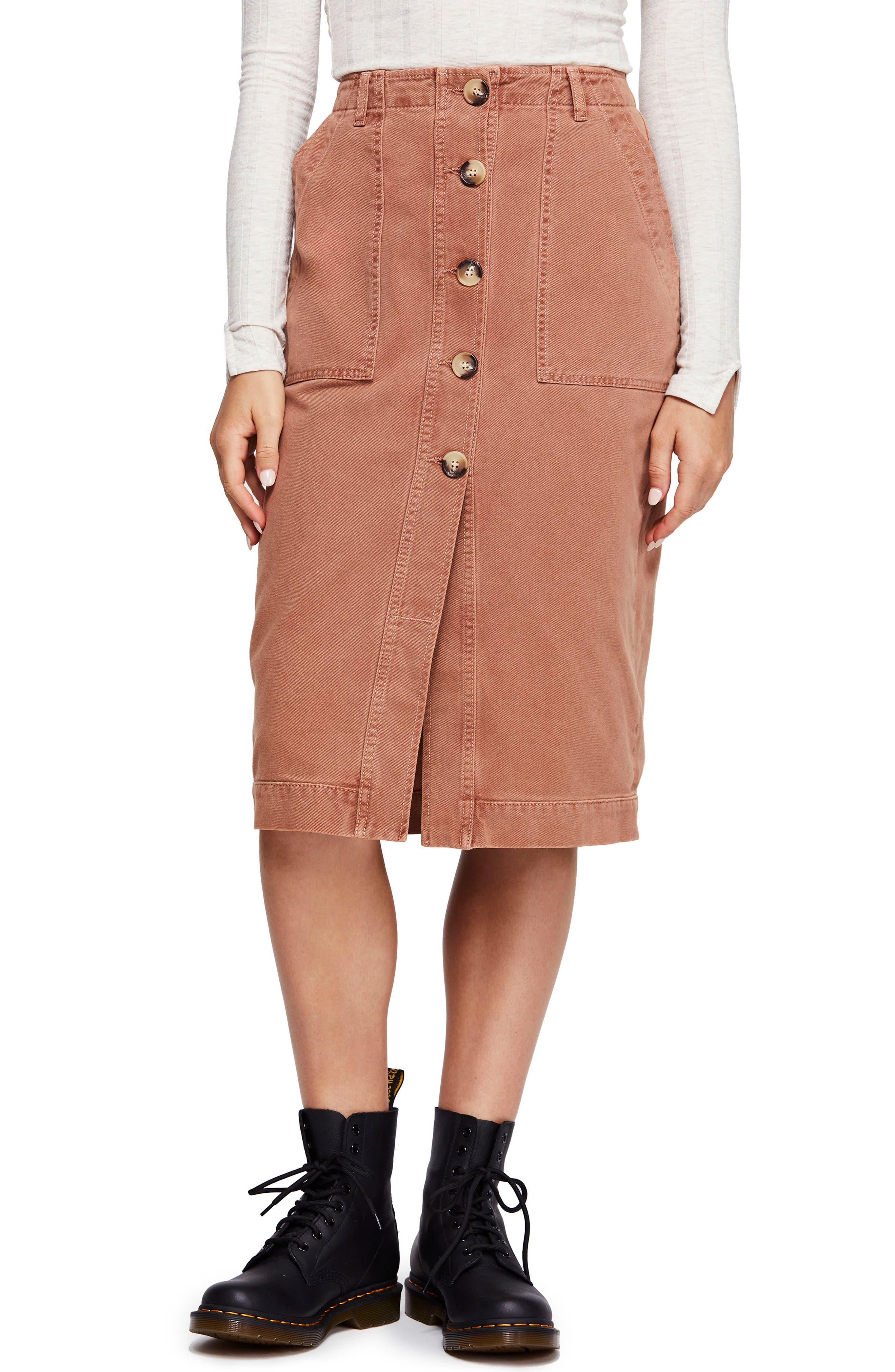 Free People Utility Skirt, Brown