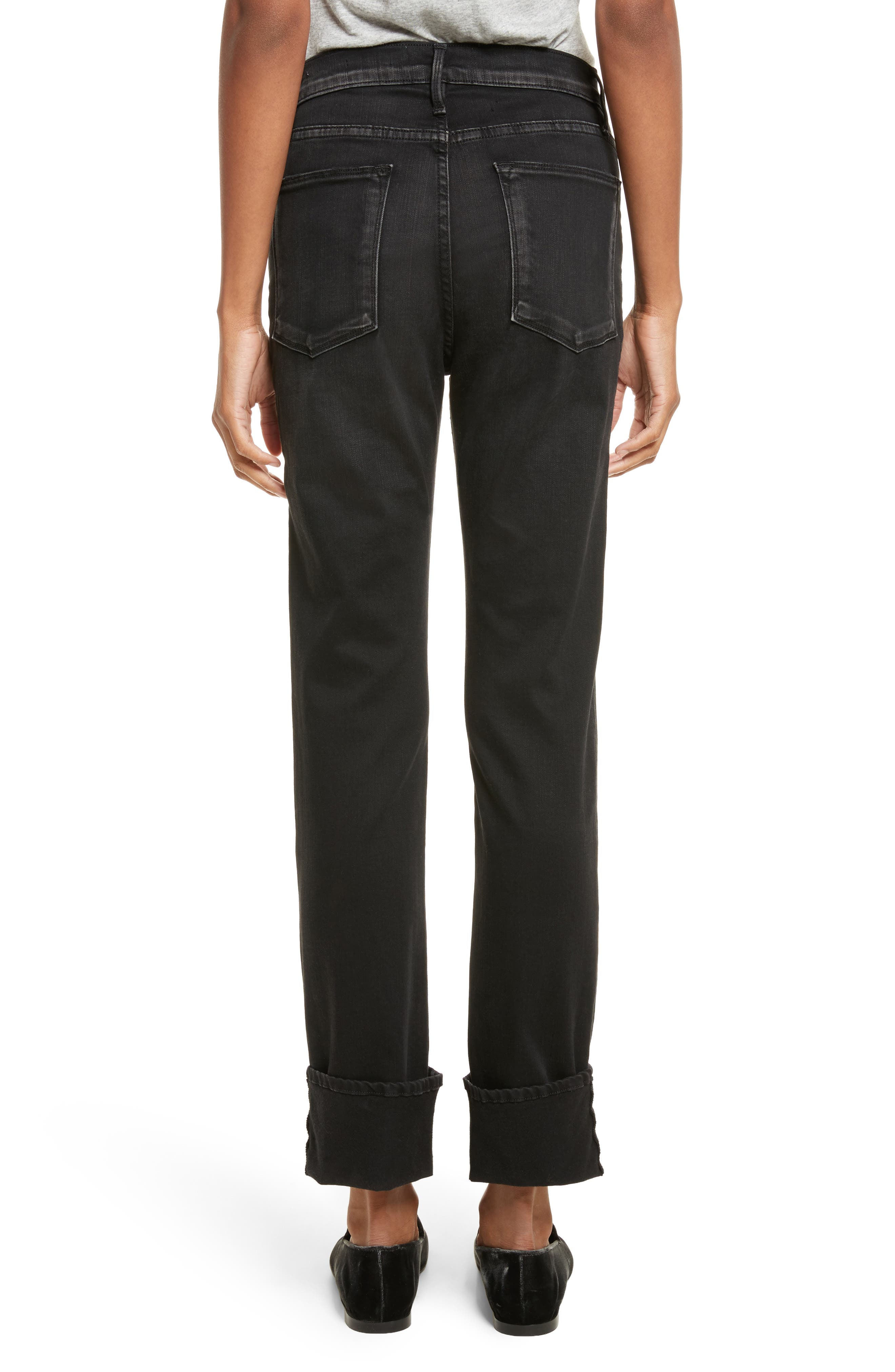 Le High Straight Leg Cuffed Jeans,                             Alternate thumbnail 2, color,                             001