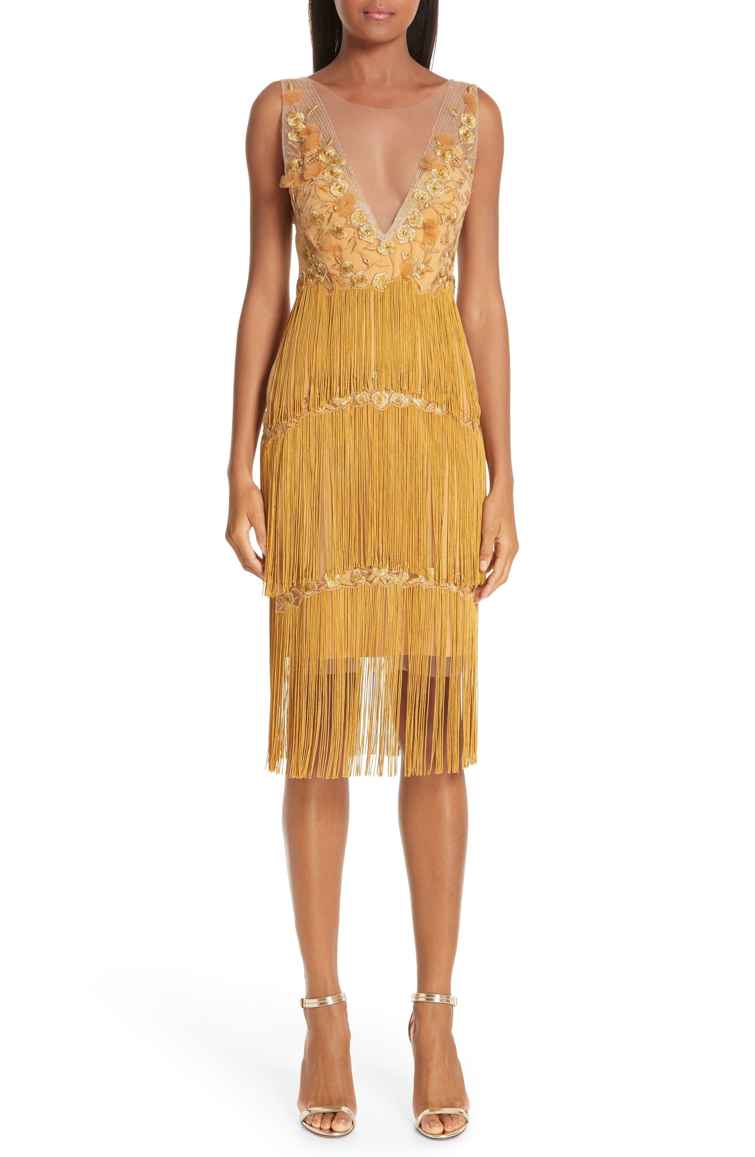 Marchesa Notte Embellished Tiered Fringe Dress, Metallic