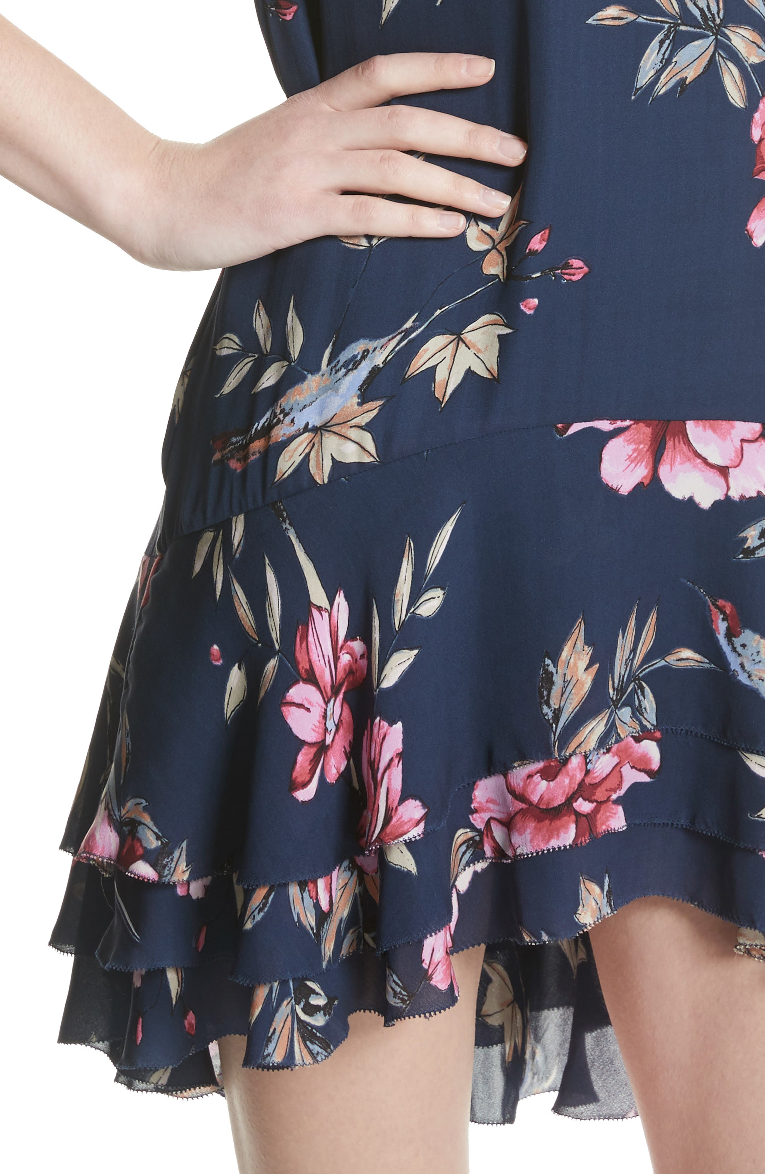 Coreen Drop Waist Floral Silk Dress,                             Alternate thumbnail 4, color,                             DARK NAVY