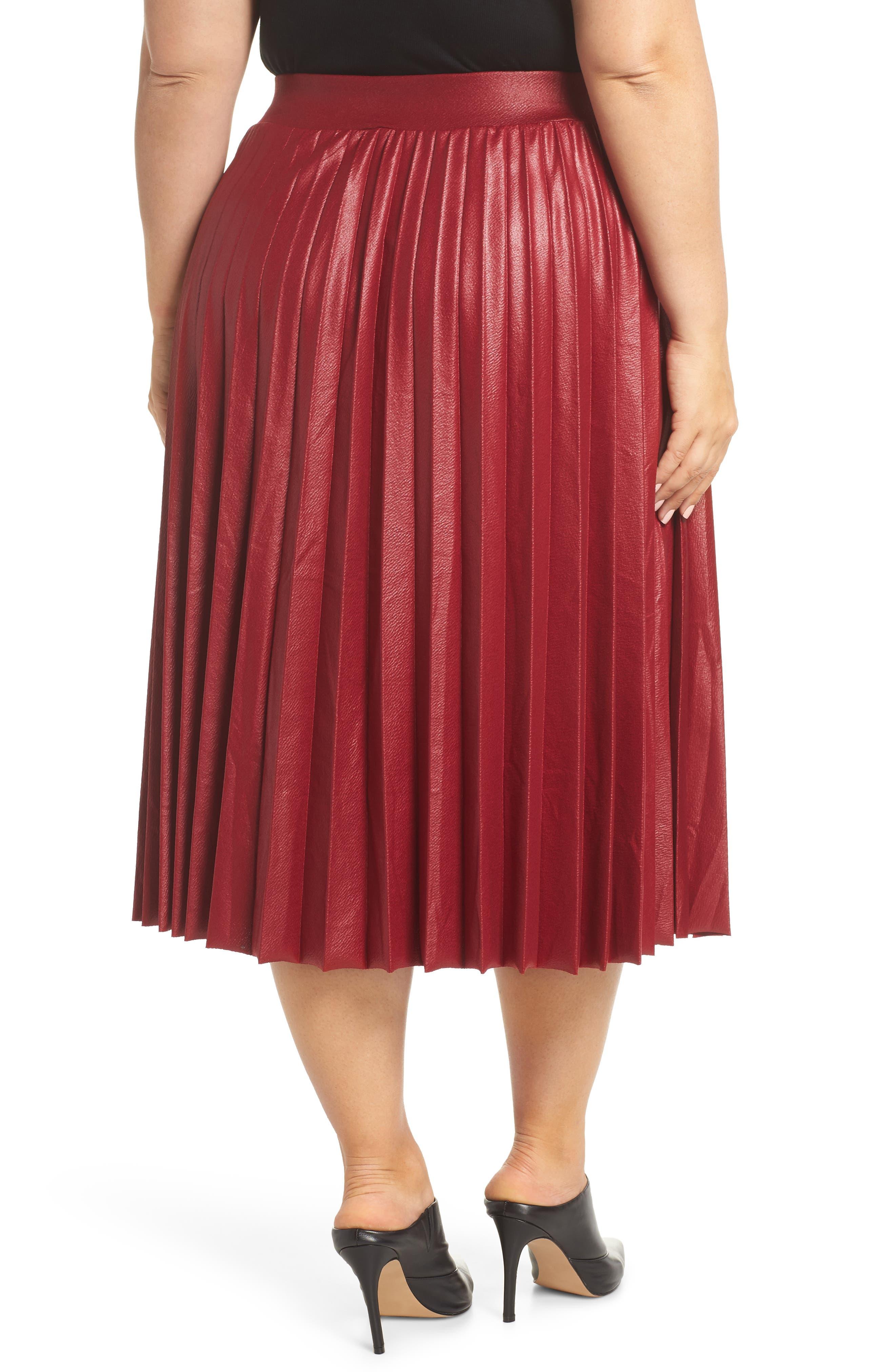 Coated Pleated Midi Skirt,                             Alternate thumbnail 2, color,                             OXBLOOD