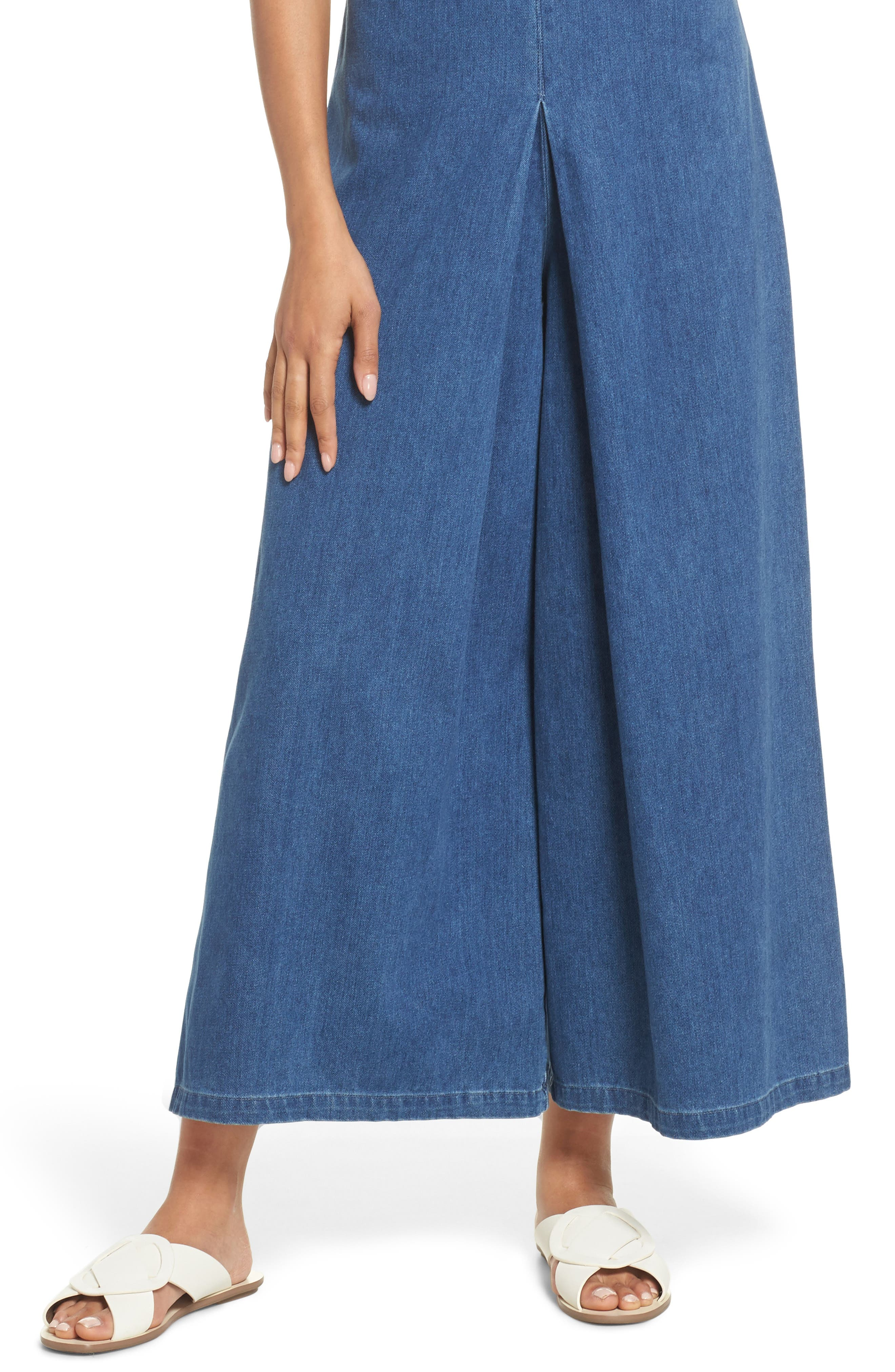 Hampton Denim Sleeveless Jumpsuit,                             Alternate thumbnail 4, color,                             400