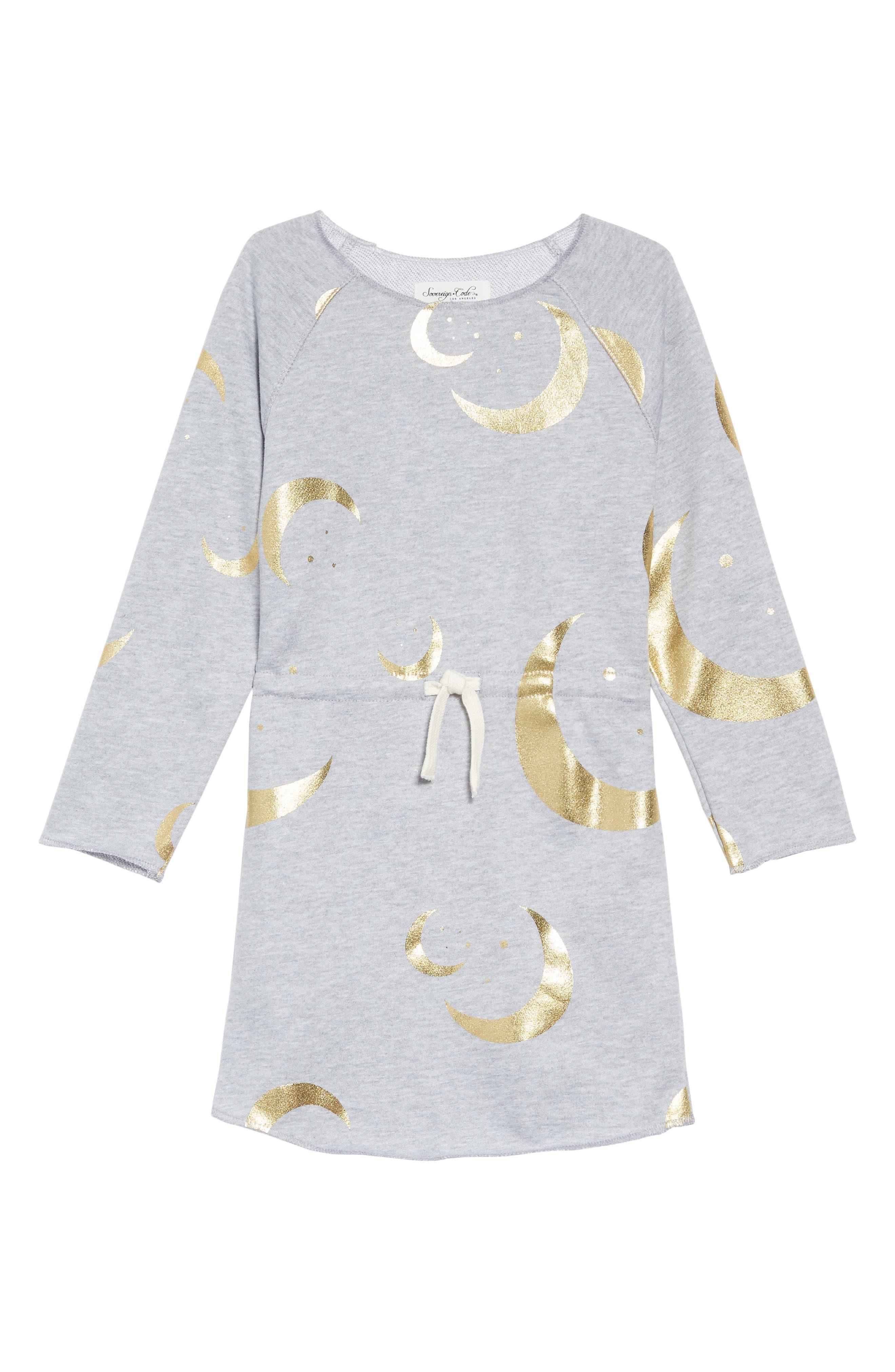 Danica Print Sweatshirt Dress,                             Main thumbnail 1, color,                             HALF MOON/HEATHER GREY