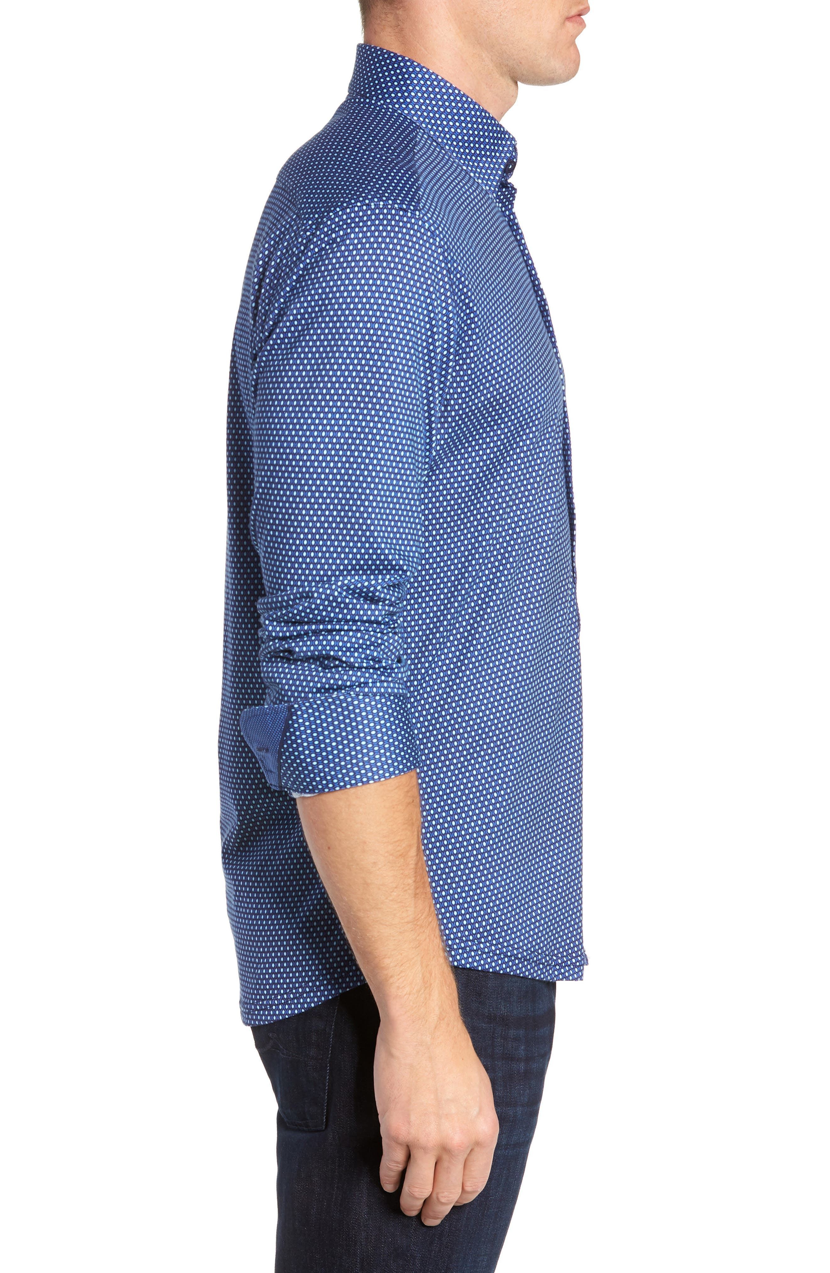 Trim Fit Sport Shirt,                             Alternate thumbnail 4, color,                             NAVY