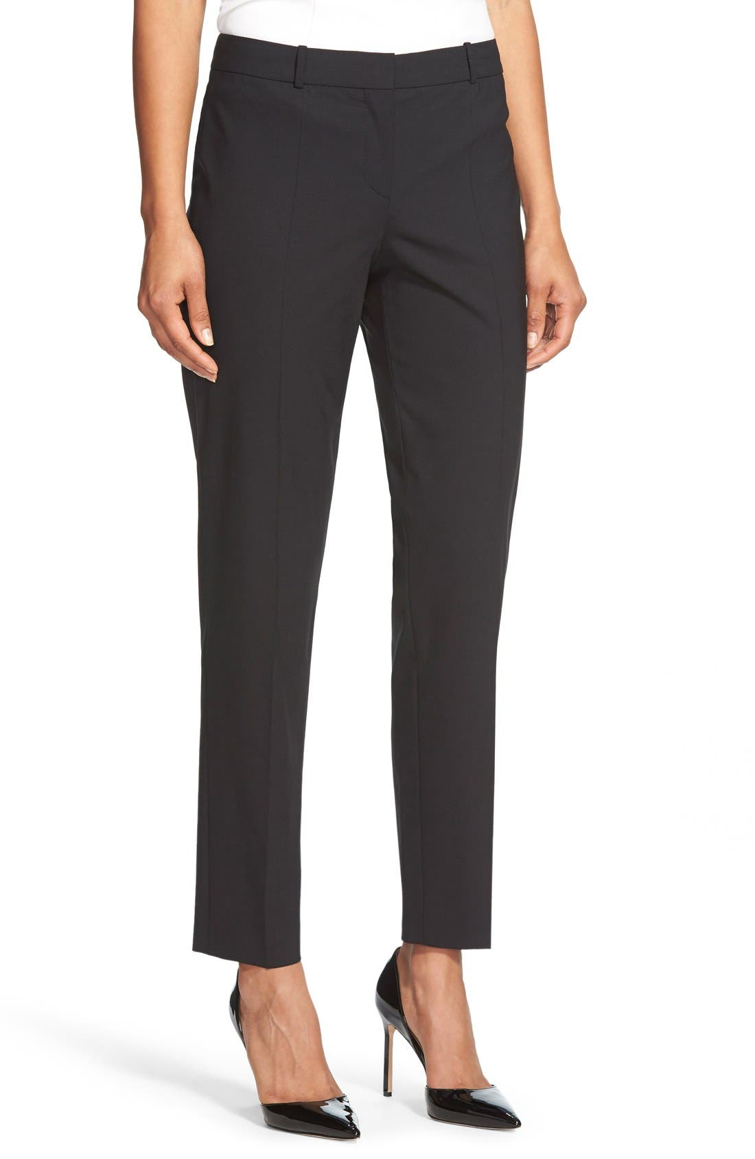Tiluna Tropical Stretch Wool Ankle Trousers,                             Main thumbnail 1, color,                             BLACK