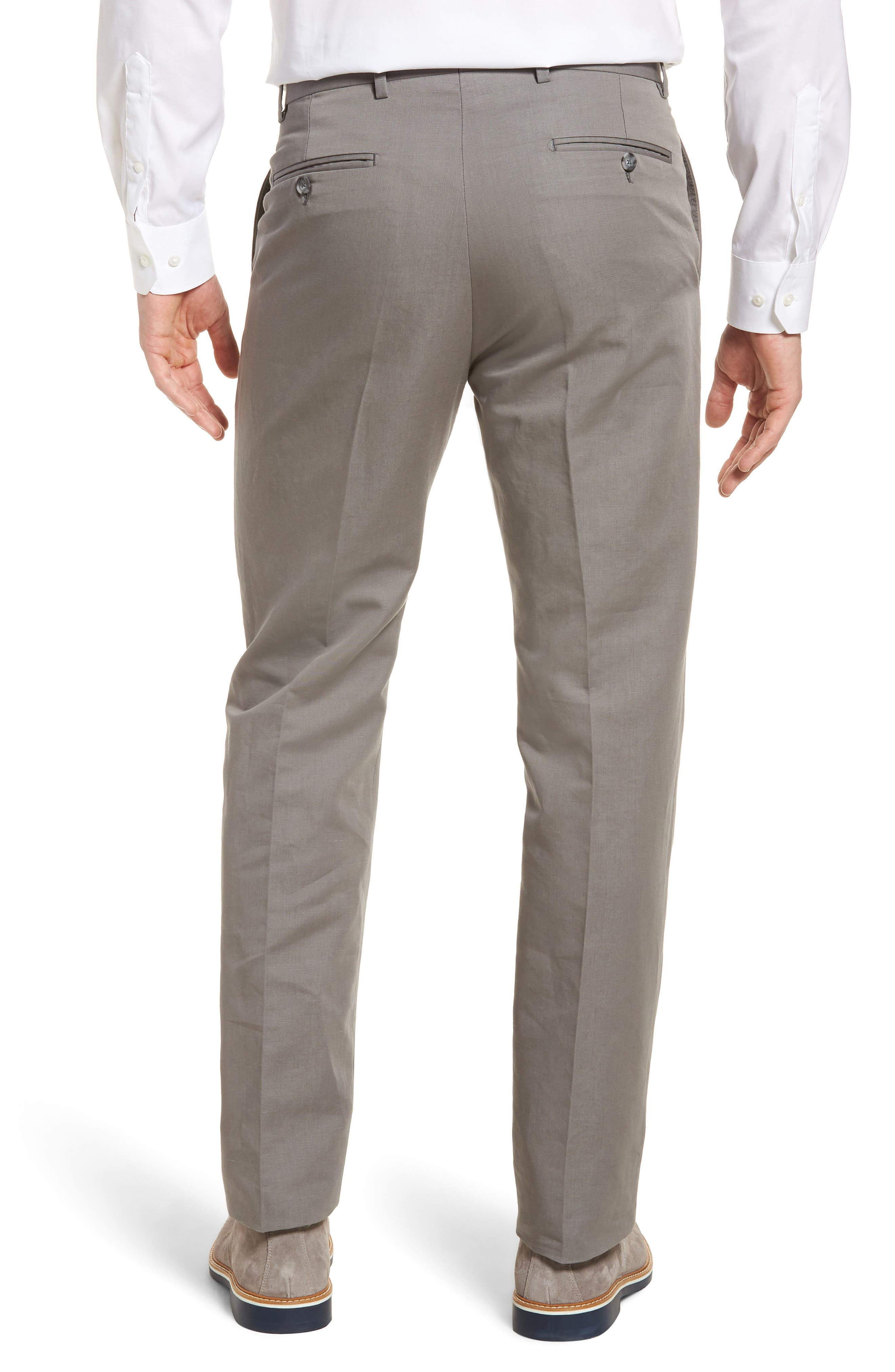 Flat Front Solid Cotton & Linen Trousers,                             Alternate thumbnail 3, color,                             030
