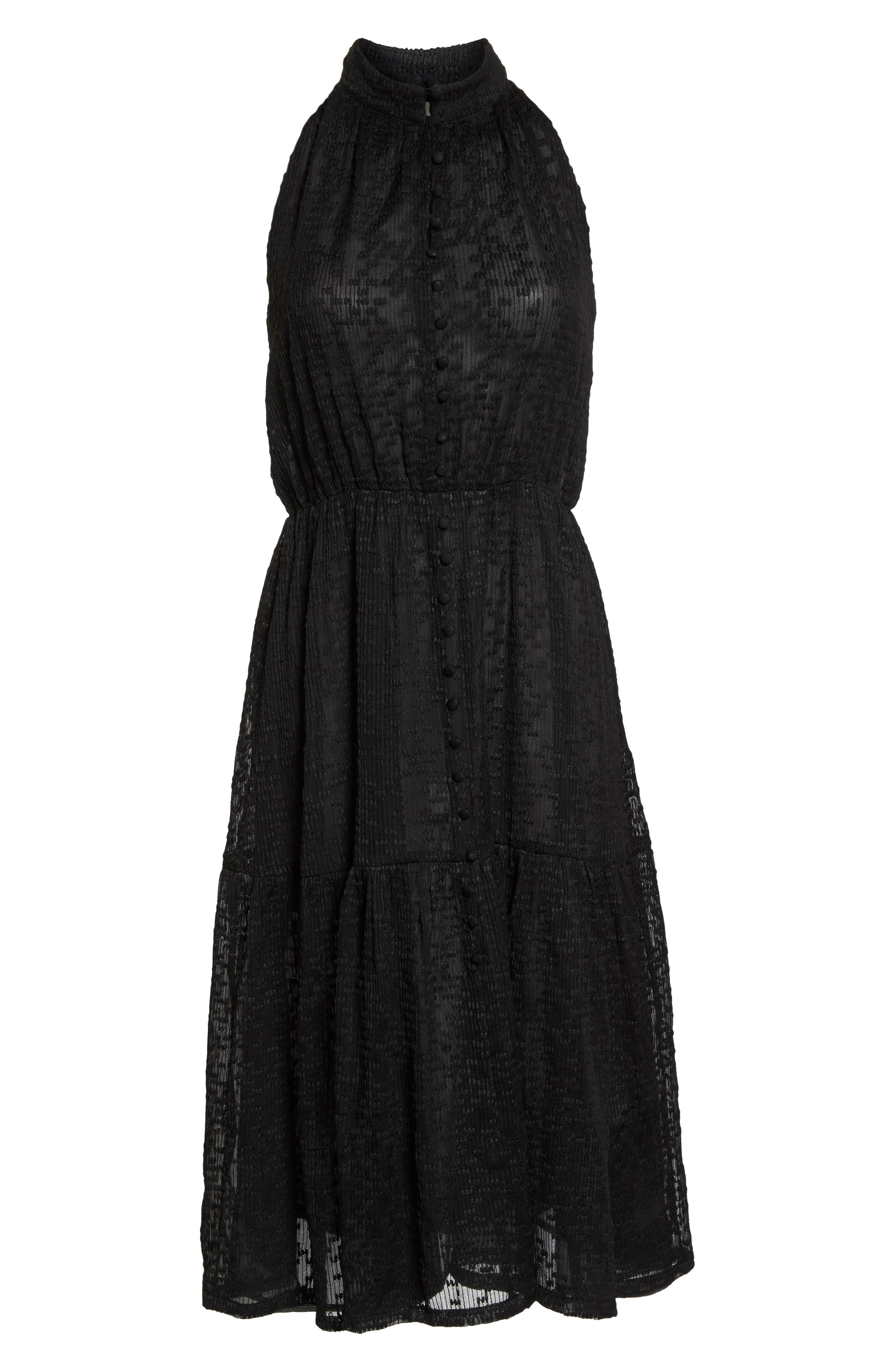 Button Front Midi Dress,                             Alternate thumbnail 7, color,                             001