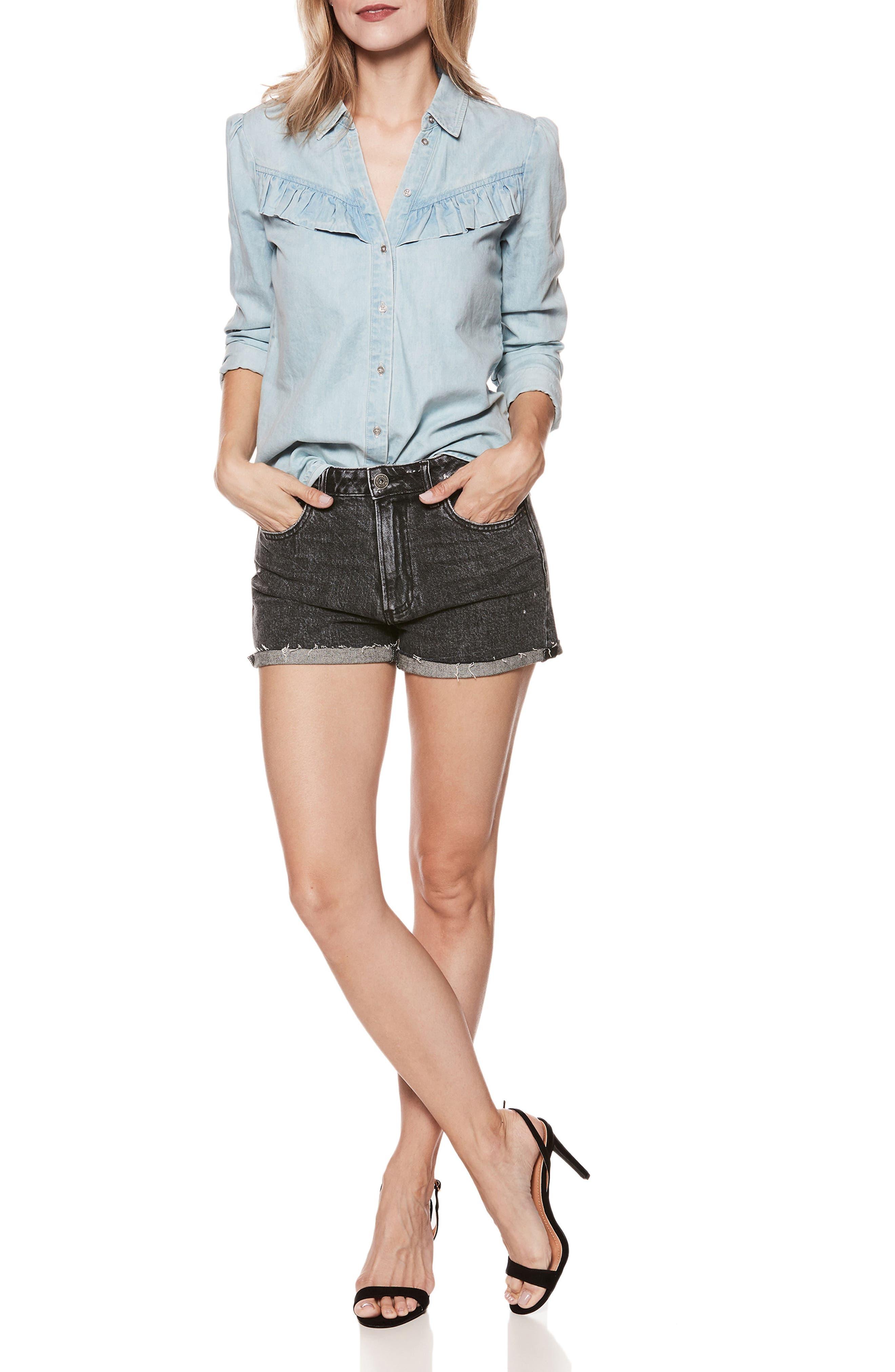 Sarah High Waist Cutoff Denim Shorts,                             Alternate thumbnail 3, color,                             001